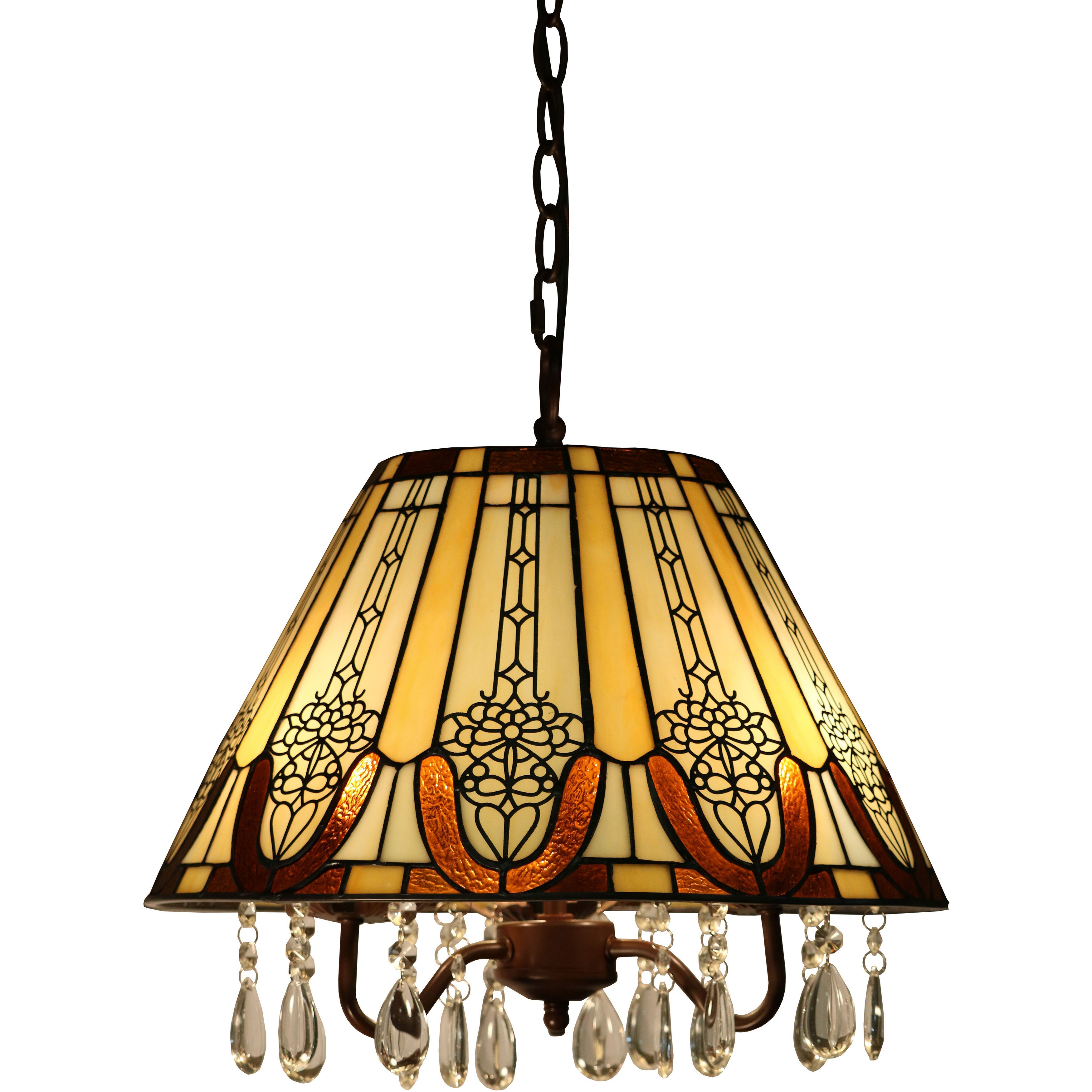Wyatt 3 light Tiffany style 16 inch Crystal Hanging Lamp Free