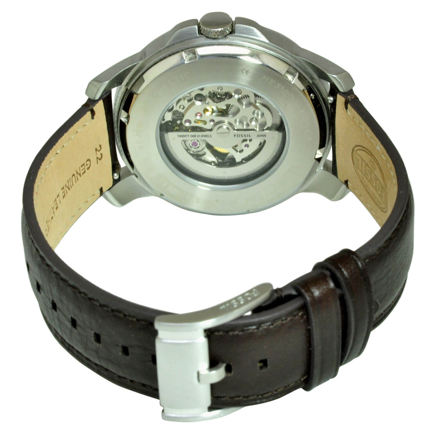 c23c00abe0c Shop Fossil Men s ME3100  Grant  Automatic Brown Leather Watch - Free  Shipping Today - Overstock - 10704224