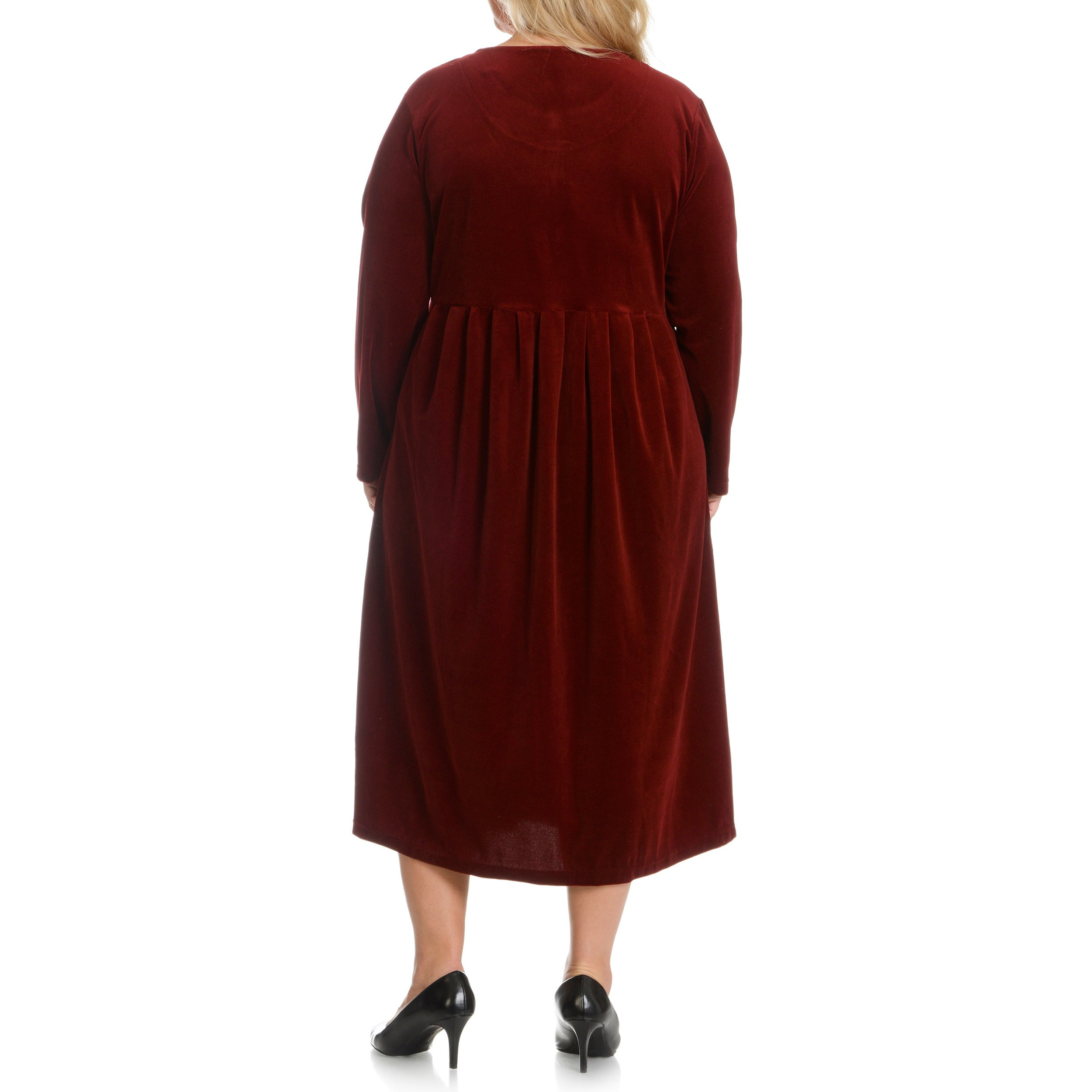 La Cera Womens Plus Size Solid Velour Dress Free Shipping Today