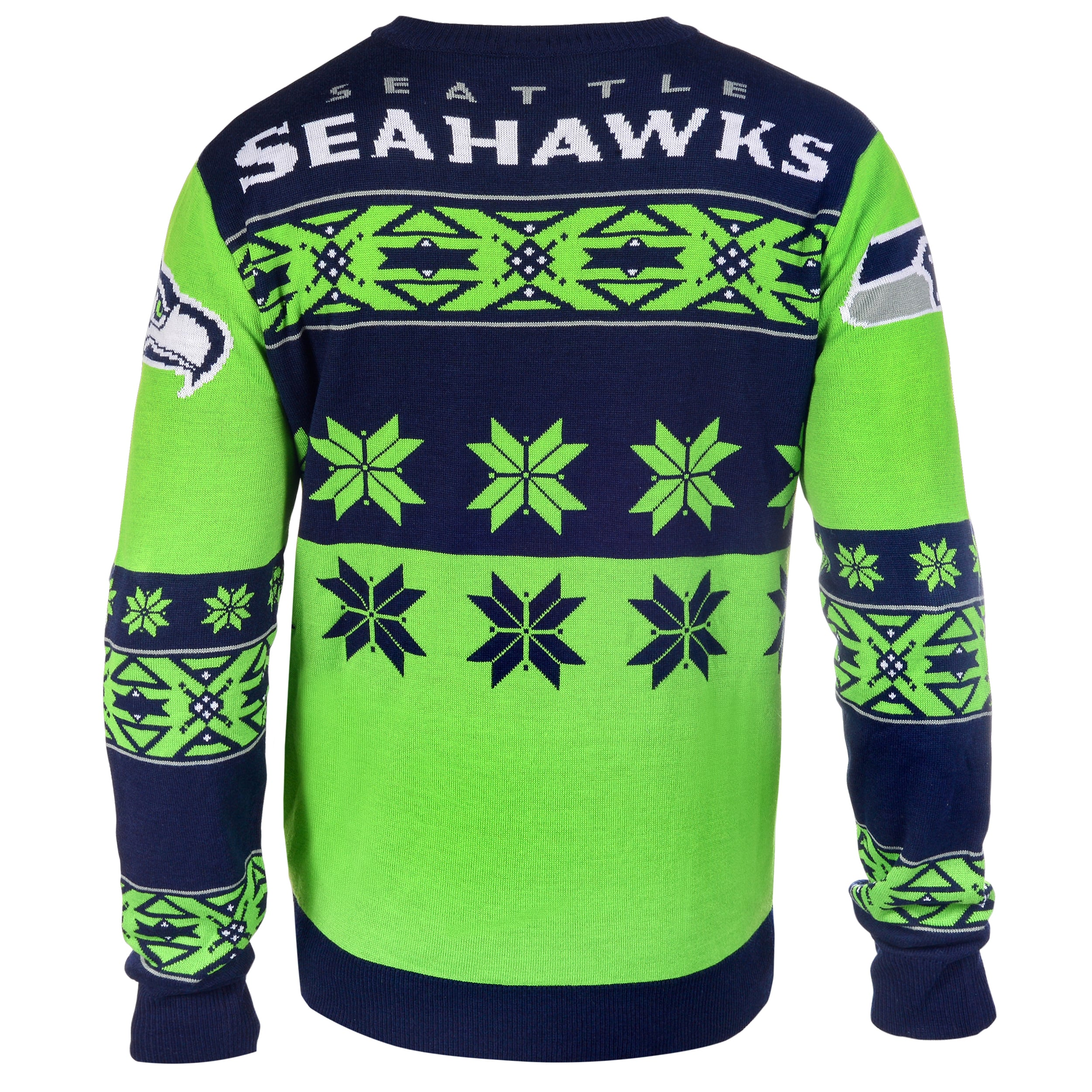brand new d271c cde83 Forever Collectibles NFL Seattle Seahawks Big Logo Crew Neck Ugly Sweater