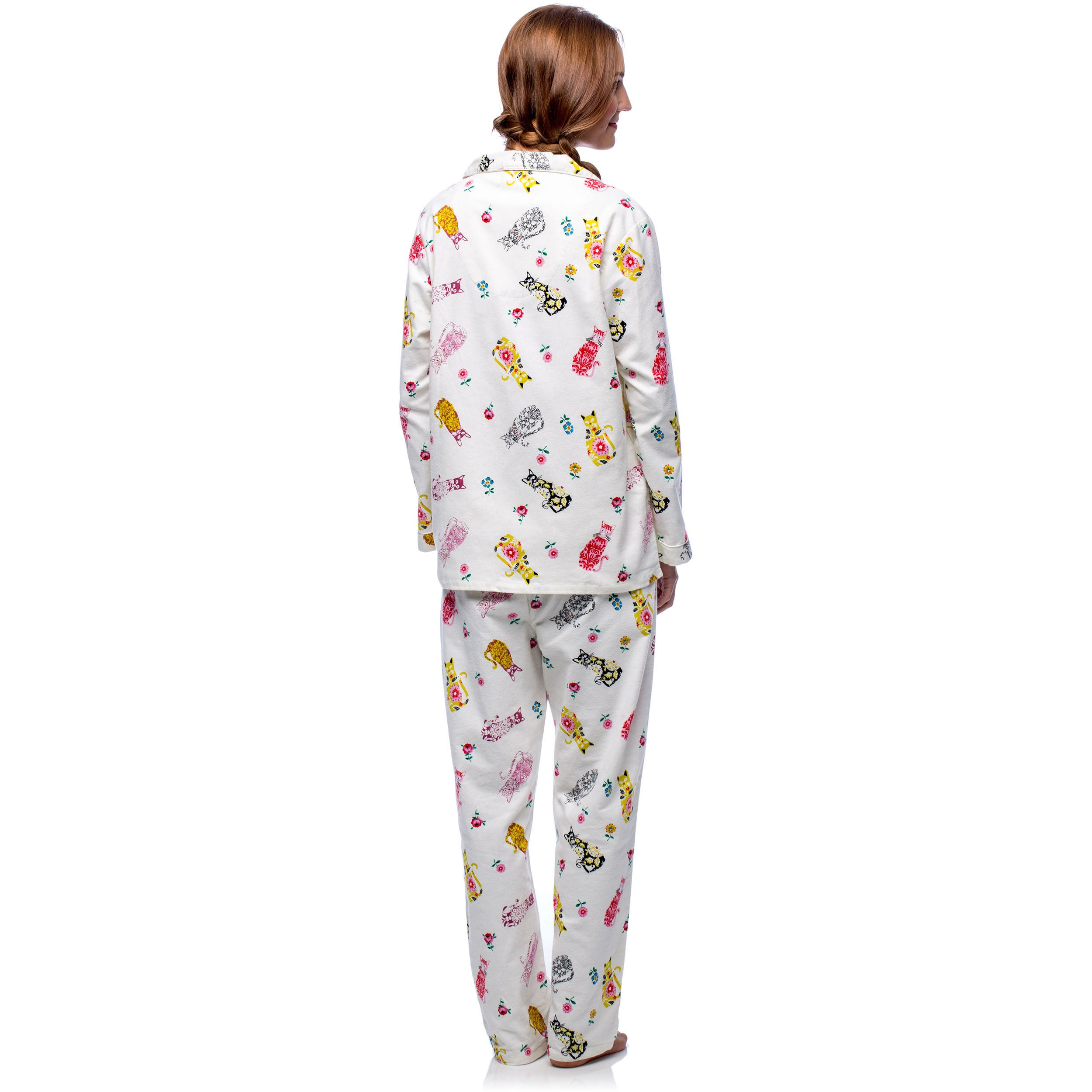 580b9f876a Shop La Cera Women s Cat Print Cotton Flannel Pajama Set - Free Shipping  Today - Overstock - 10706613