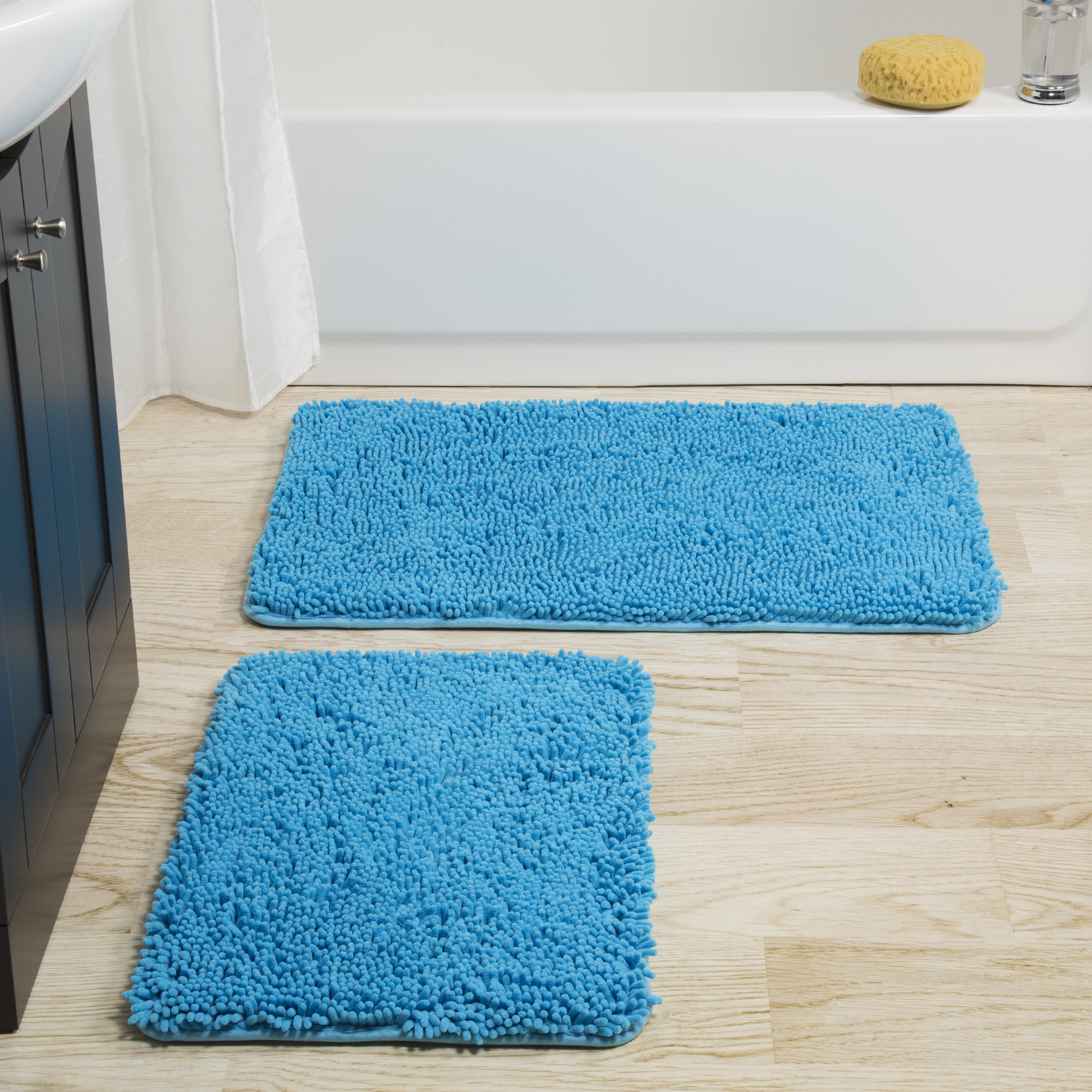 Shop Windsor Home 2-piece Memory Foam Shag Bath Mat - Free Shipping ...