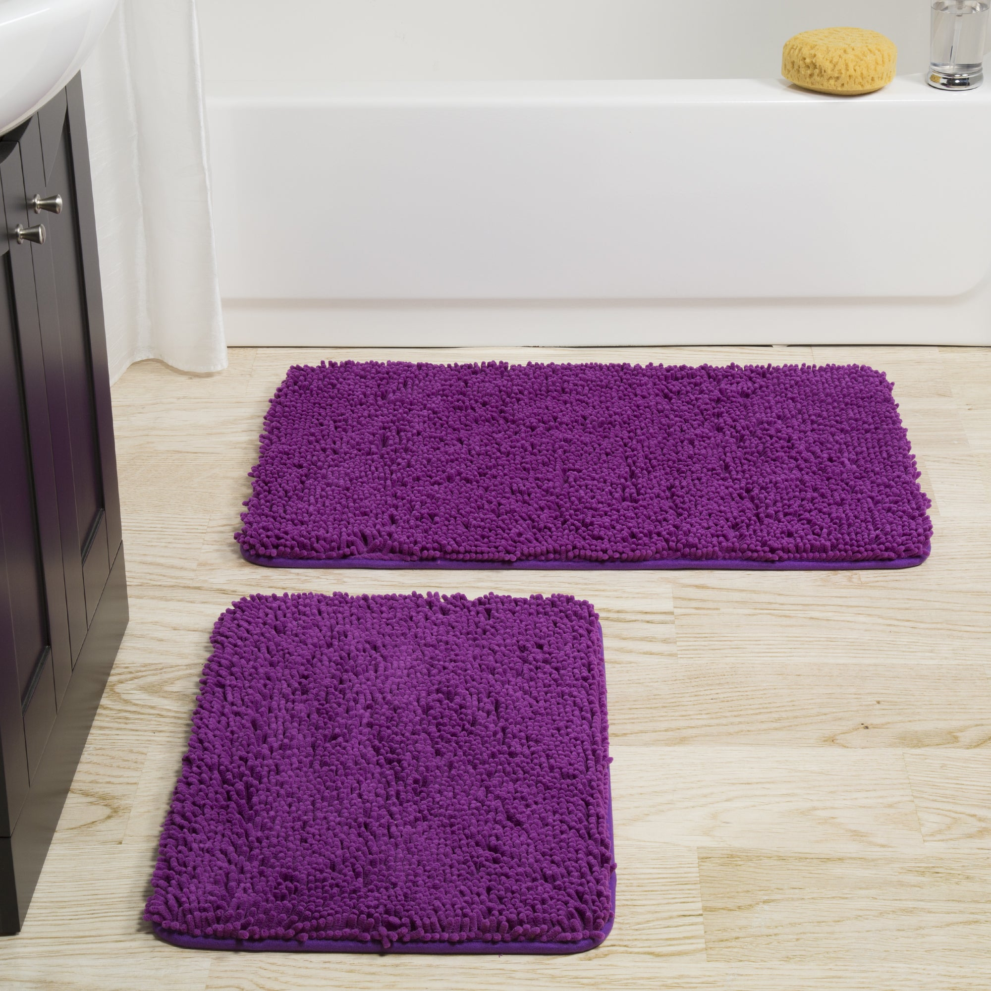 absorbant rug pieces itm bath non memory carpet purple slip bathroom mats mat