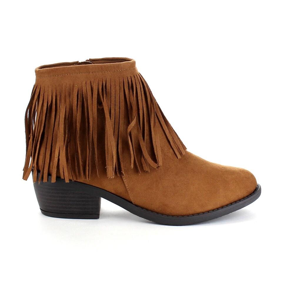 884aa481ed1f6 Shop Beston Women's Side Zip Low Heel Fringe Ankle Booties - Free Shipping  Today - Overstock - 10707825