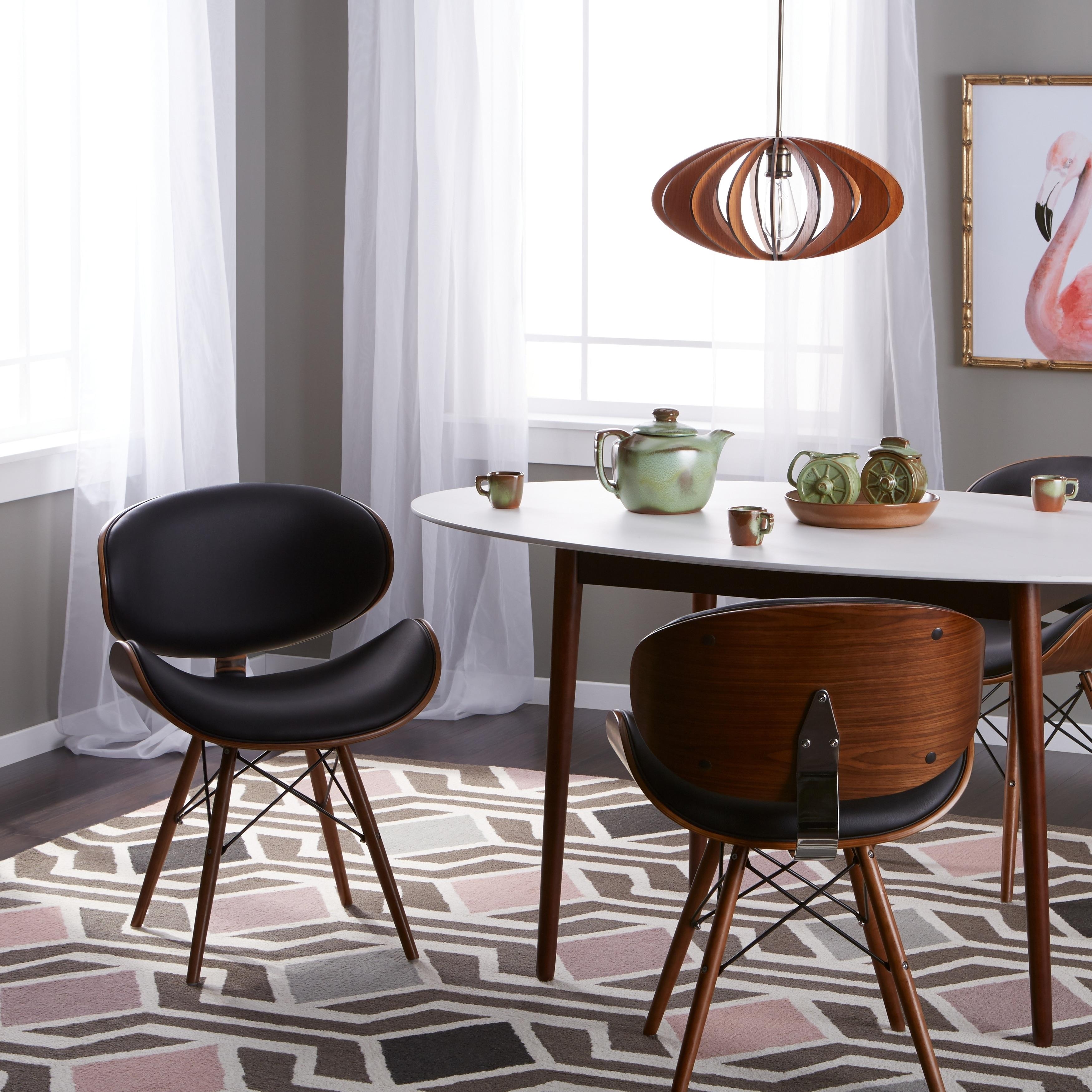 Shop Corvus Madonna Mid Century Walnut And Black Finish Accent Chair
