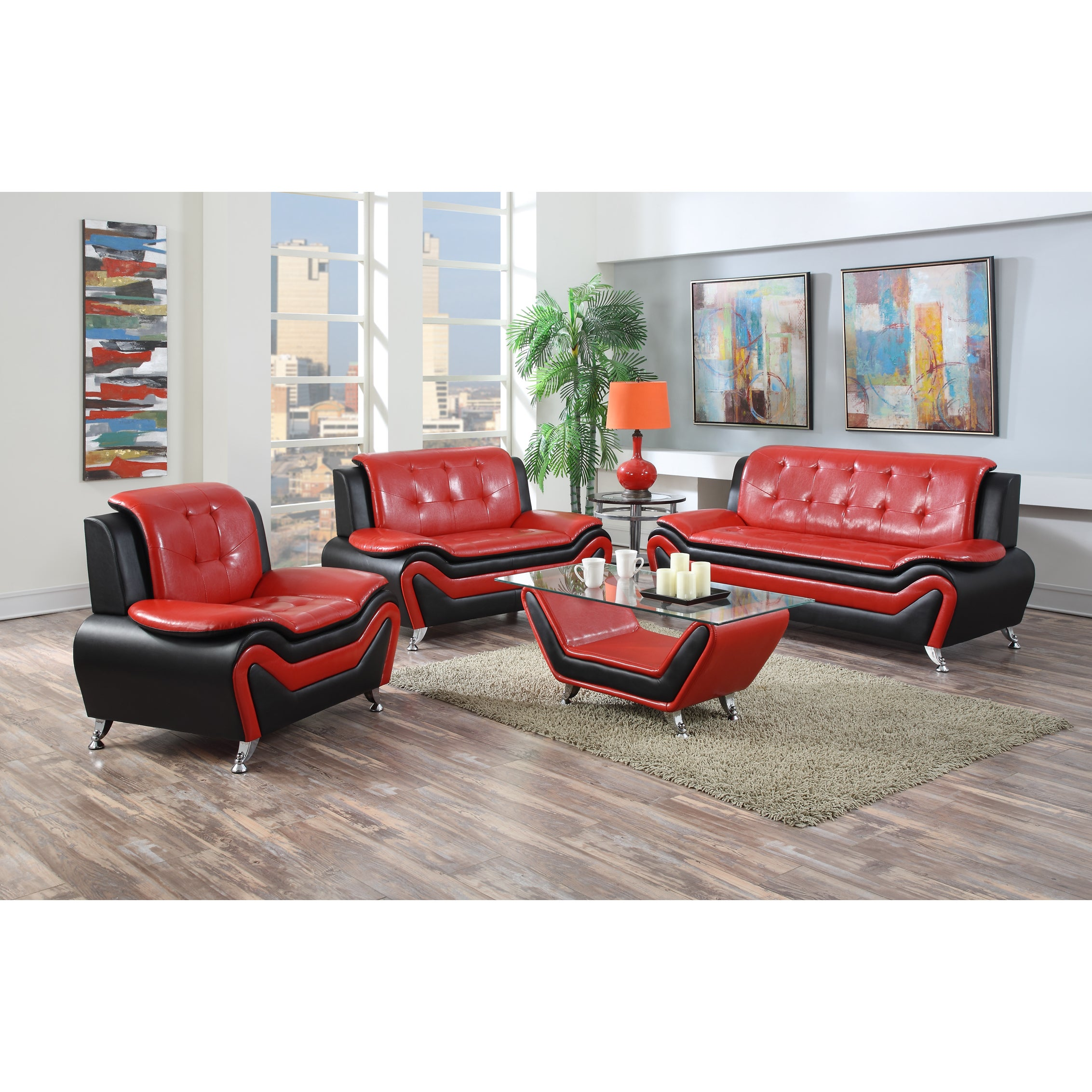 Shop Wanda 3-Piece Modern Bonded Leather Sofa Set - On Sale - Free ...