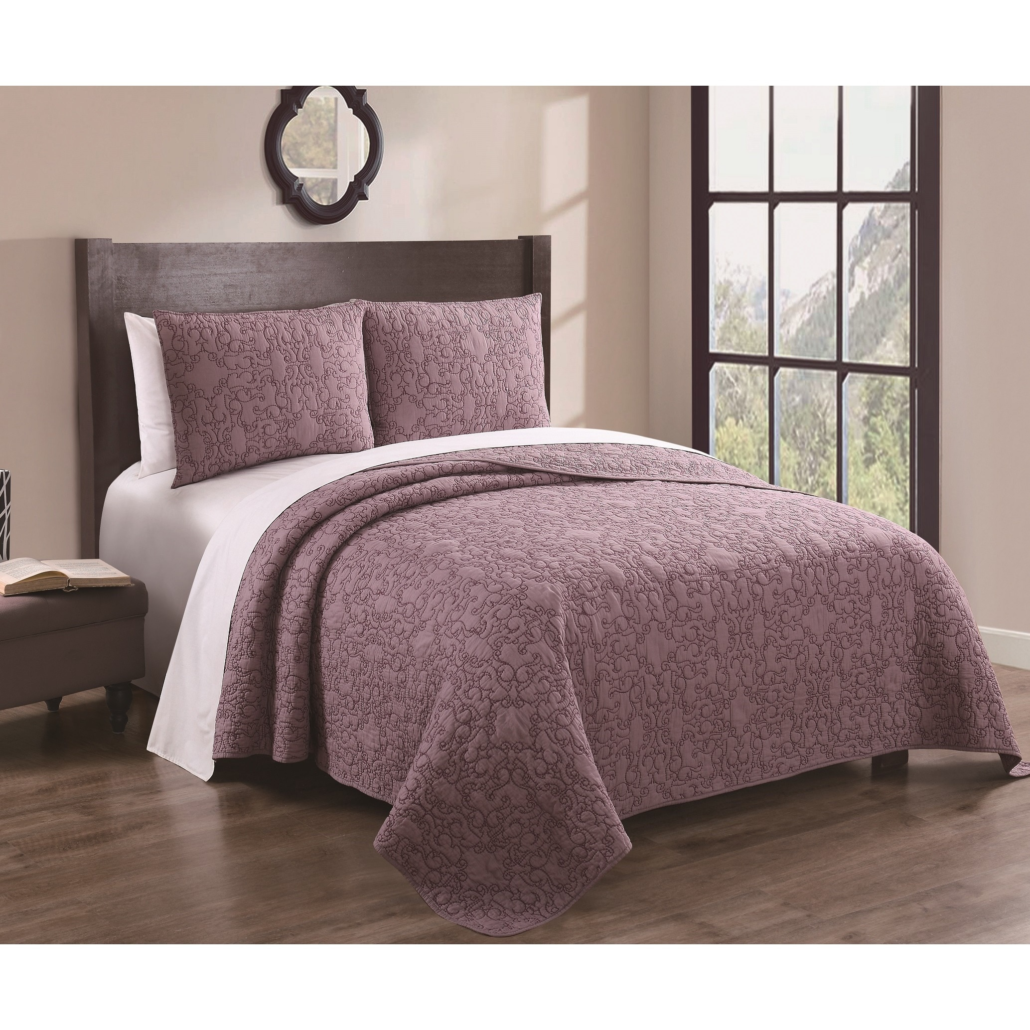 set reversible sale solid orders over overstock baltic product free piece shipping bedding quilt on plum bath