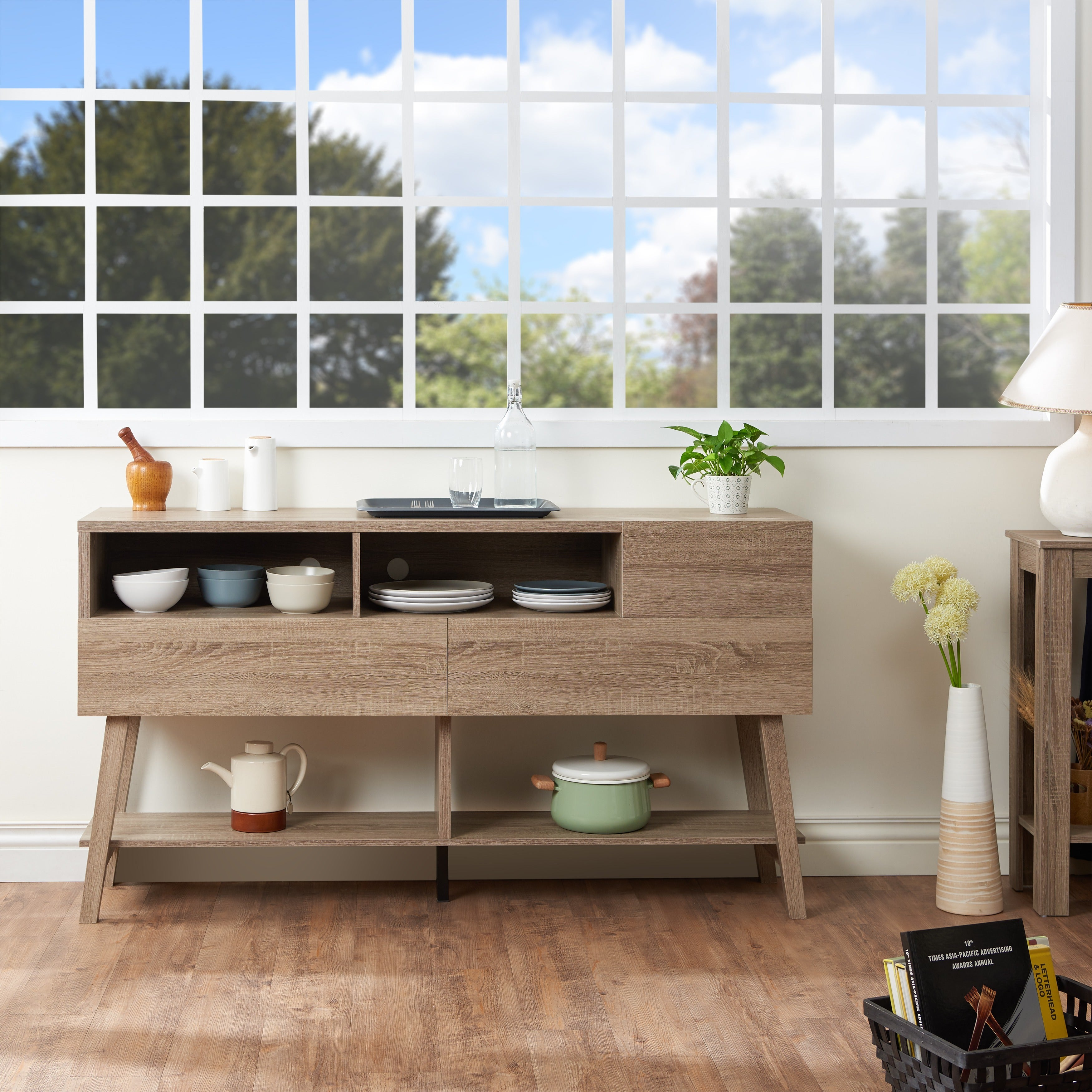 The Gray Barn Red River 60 Inch 3 Drawer Dining Buffet