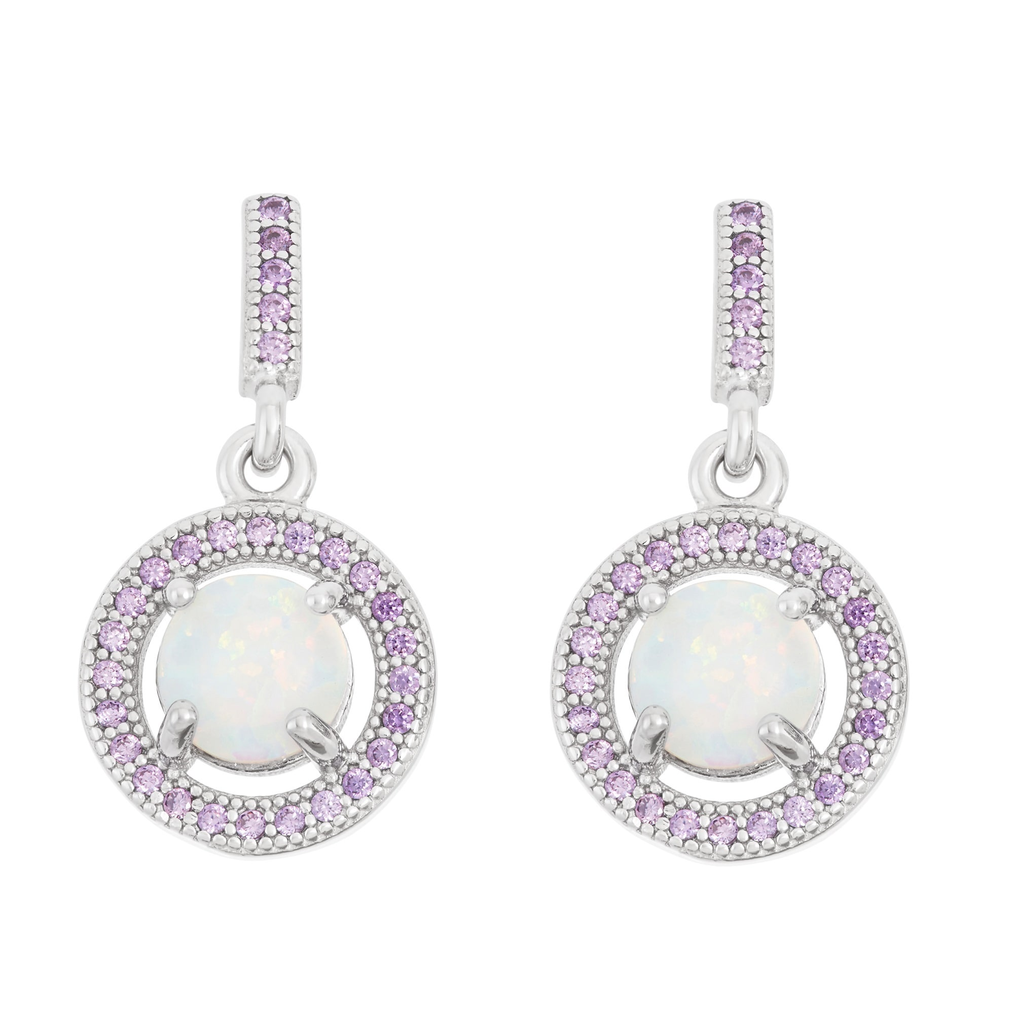La Preciosa Sterling Silver White Opal And Purple Cubic Zirconia Earrings On Free Shipping Orders Over 45 10745517