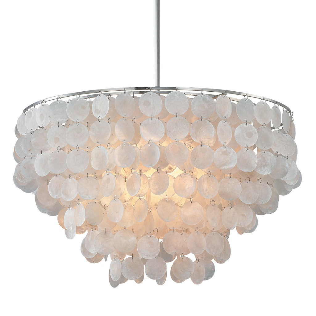 Austin allen company polished nickel steel and capiz shell 6 light austin allen company polished nickel steel and capiz shell 6 light pendant free shipping today overstock 17800853 mozeypictures Image collections