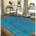 Soft Cozy Solid Turquoise Indoor Shag Area Rug (7'10 x 10')