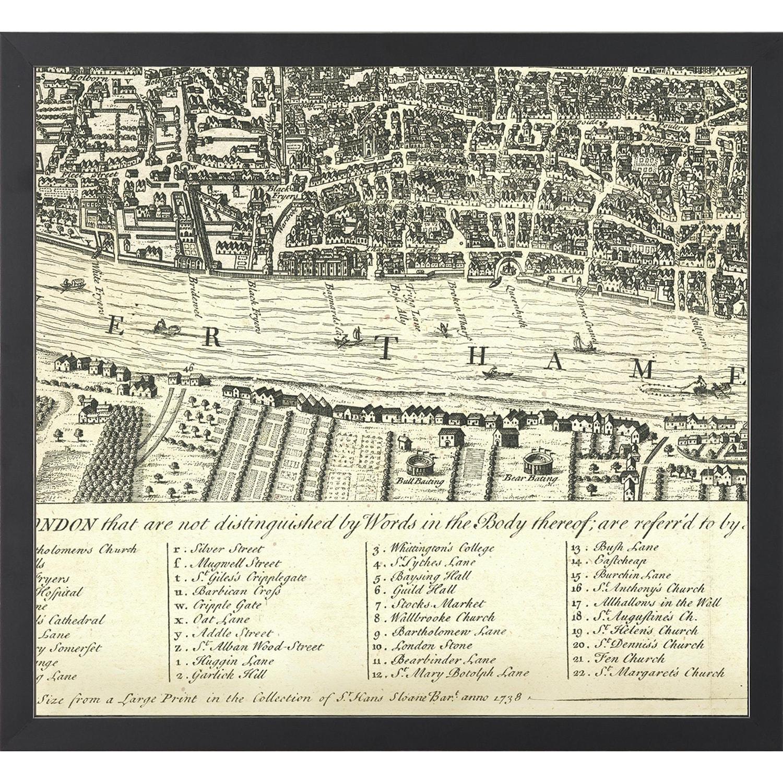 Shop Vintage Framed 6 Piece Segmented Map of London - Black - On ...