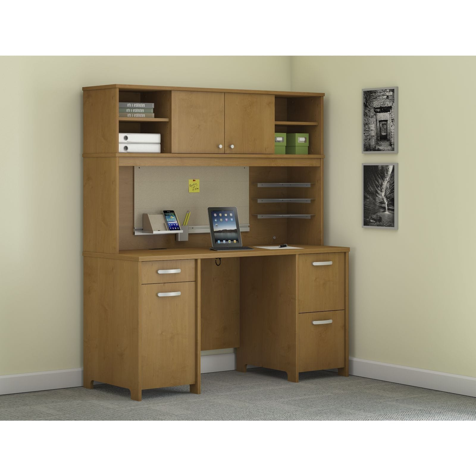 Shop Envoy Double Pedestal Desk And Hutch Free Shipping Today