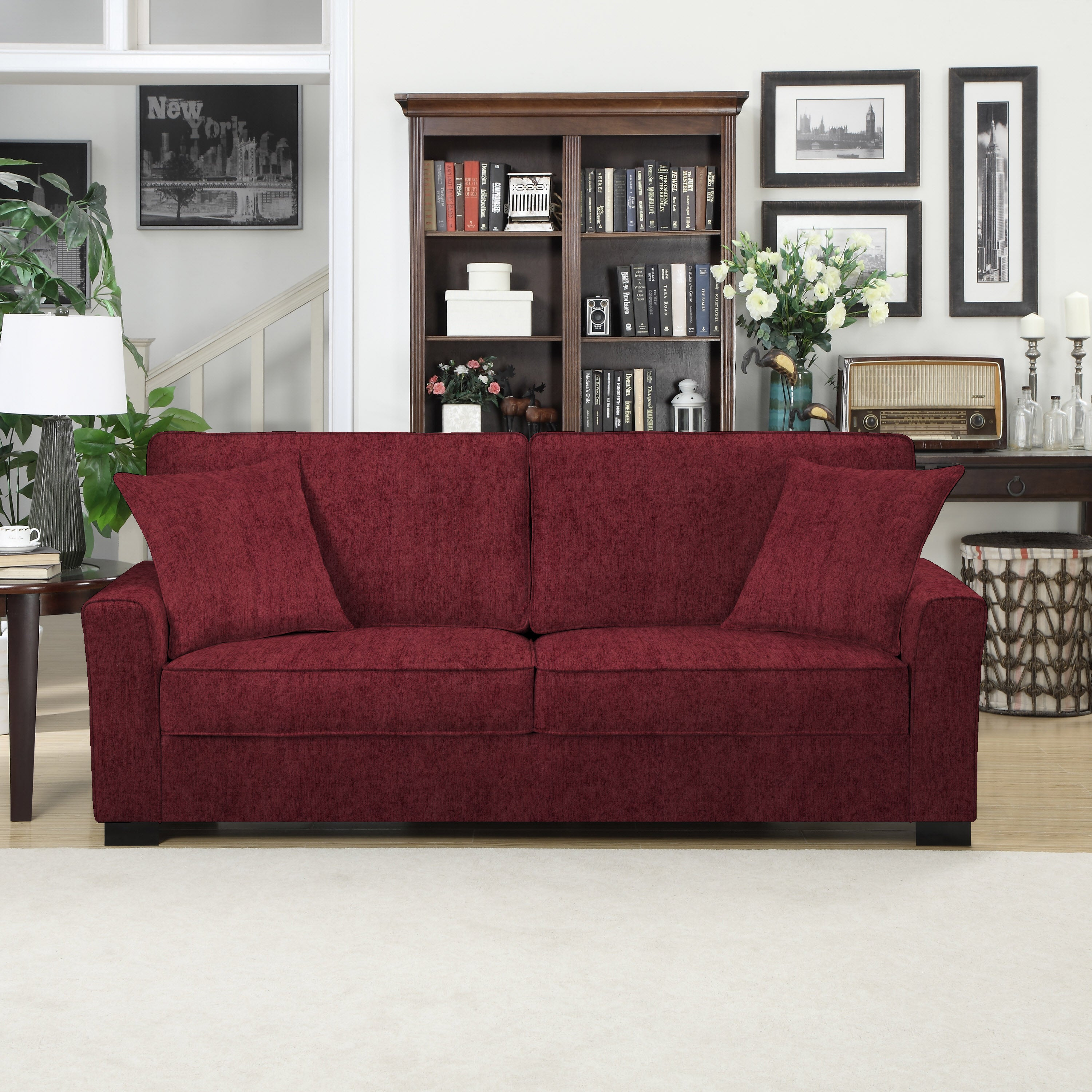 Handy Living Karsten Sofast Berry Red Chenille Sofa Free Shipping Today 10746991