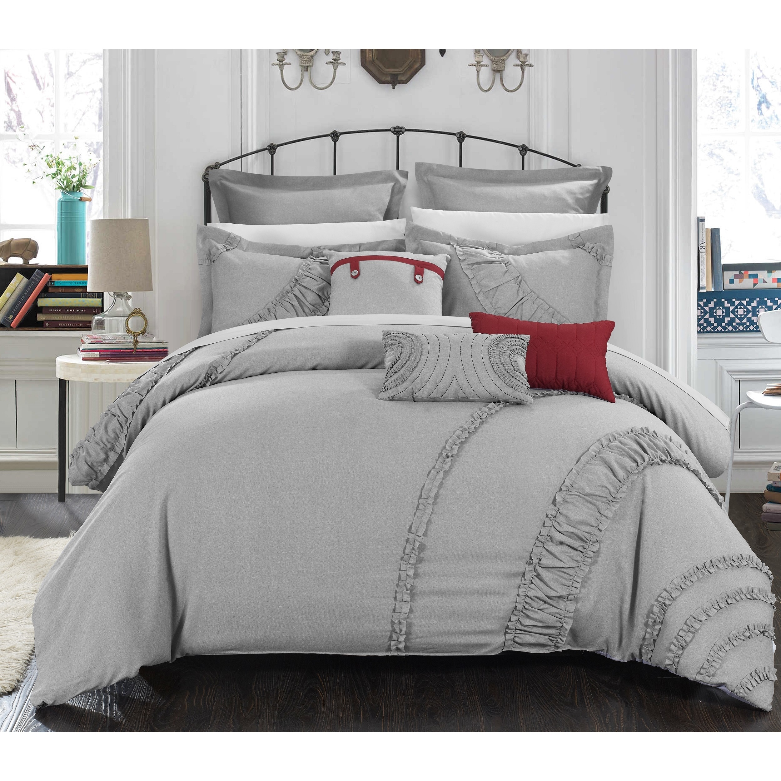 to colonial pleating textiles home comforter oversized linen pin marilyn elegant set the embellishes add