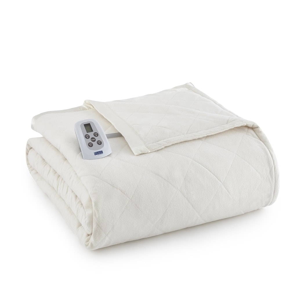 Shop Shavel Micro Flannel Quilted Electric Heated Blanket On Sale