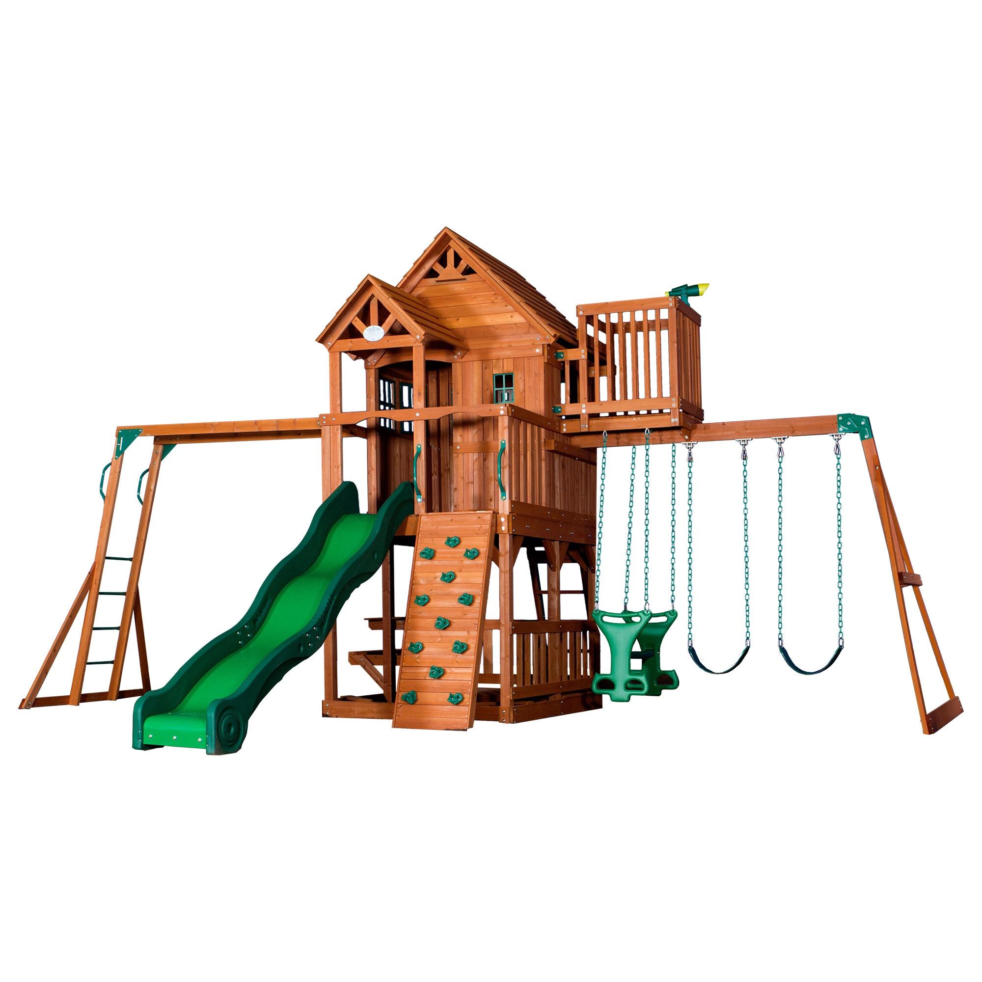 Shop Backyard Discovery Skyfort Ii Brown All Cedar Swing Set Play