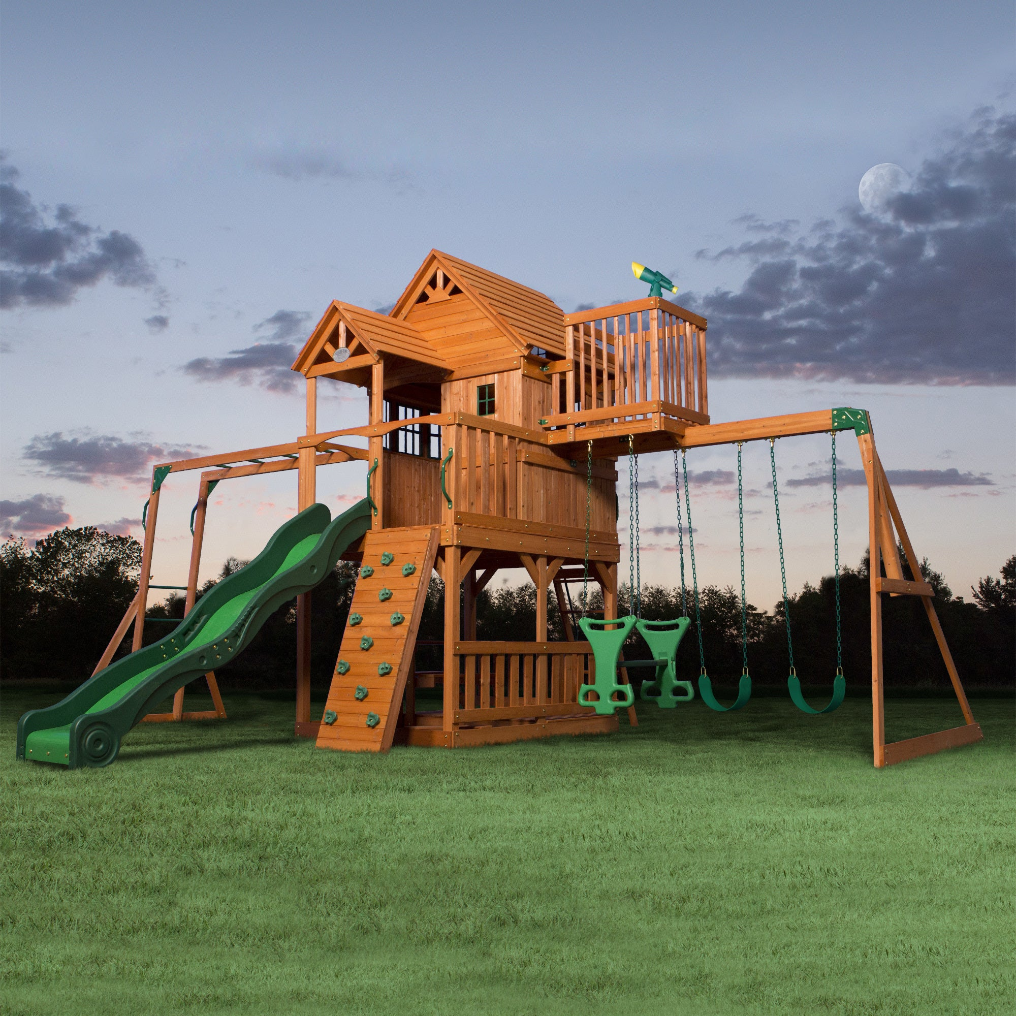Shop Backyard Discovery Skyfort Ii Brown All Cedar Swing Set Play
