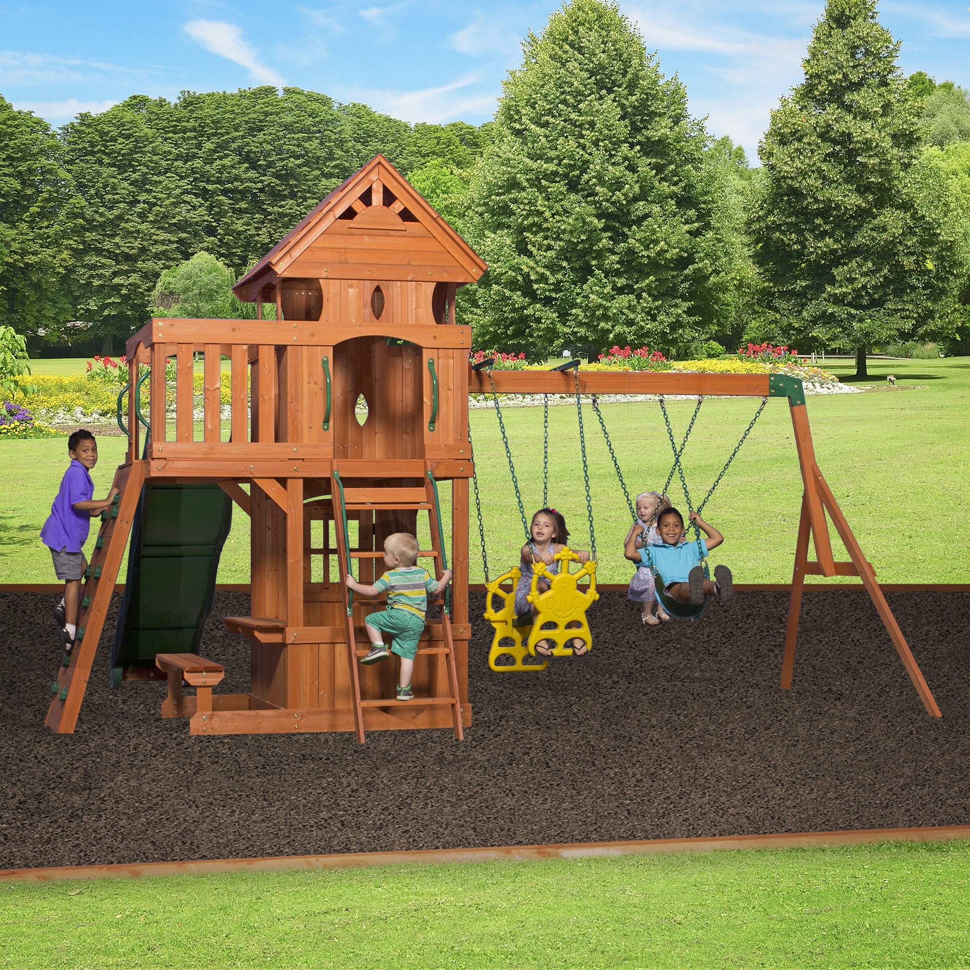 Backyard Discovery Monterey Cedar Swingset - Free Shipping Today -  Overstock.com - 17808759