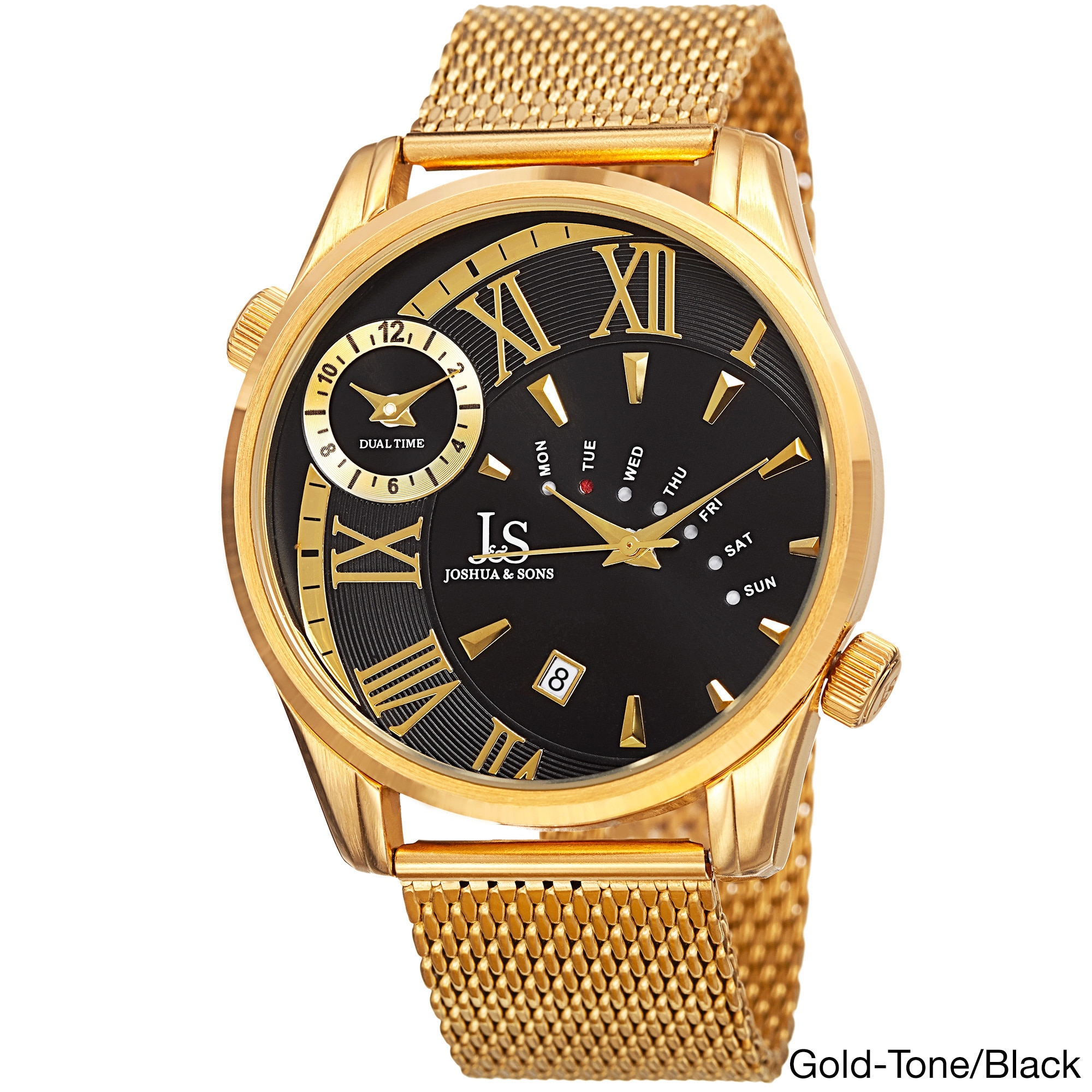 e1b6556c58c Shop Joshua   Sons Men s Quartz Multifunction Dual Time Stainless Steel  Mesh Bracelet Watch - Gold - On Sale - Free Shipping Today - Overstock -  10755231