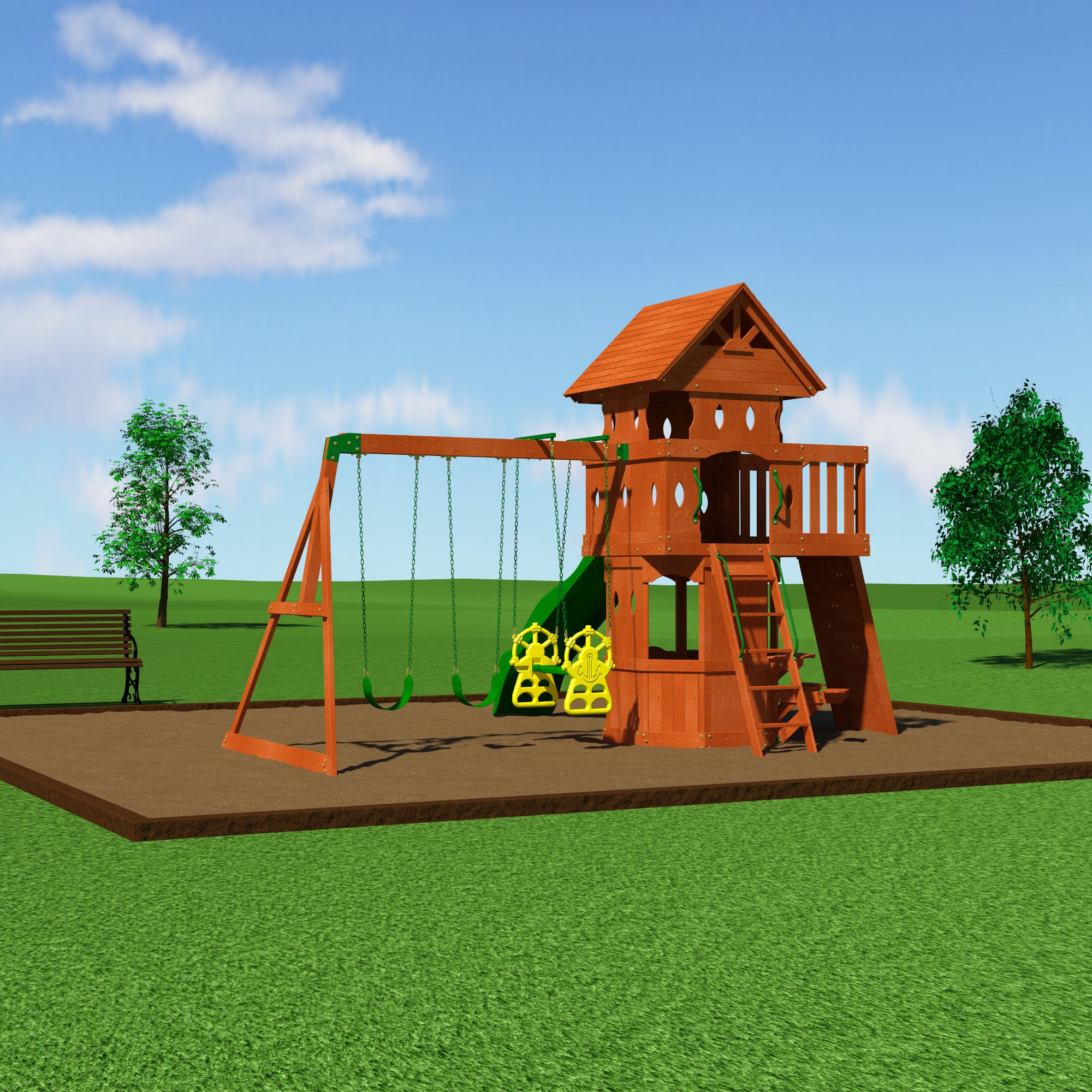 Shop Backyard Discovery Woodland All Cedar Swingset Free Shipping