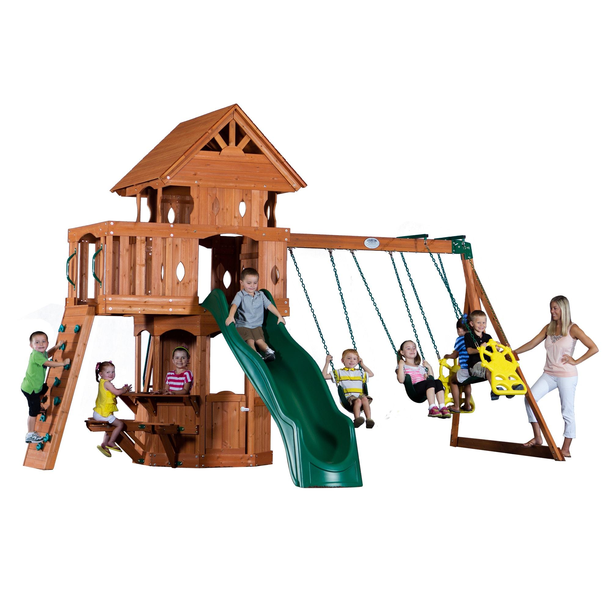 Shop Backyard Discovery Woodland All Cedar Swingset Free Shipping