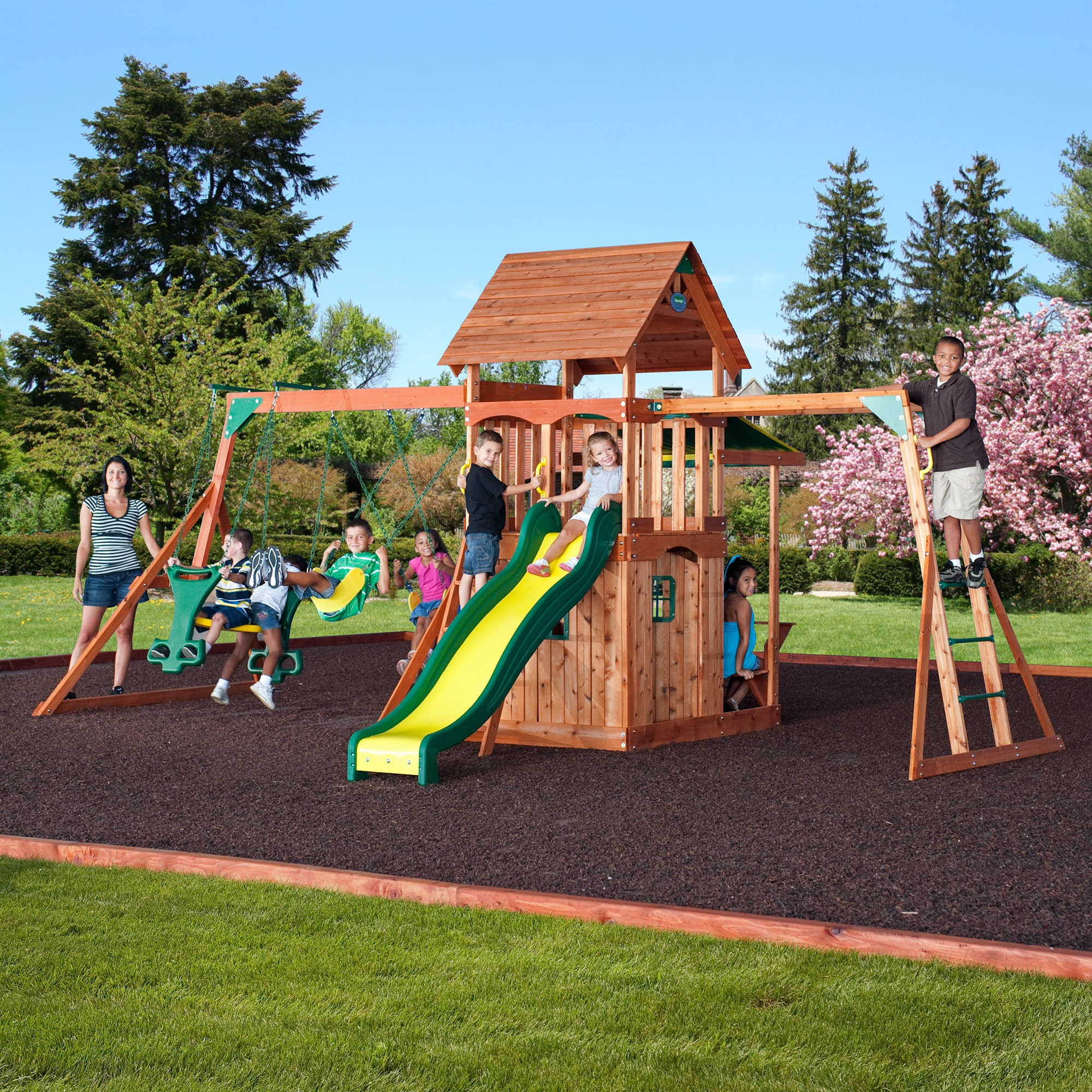 toys somerset mount product green set sports swing backyard brown all cedar triumph wood swingset discovery