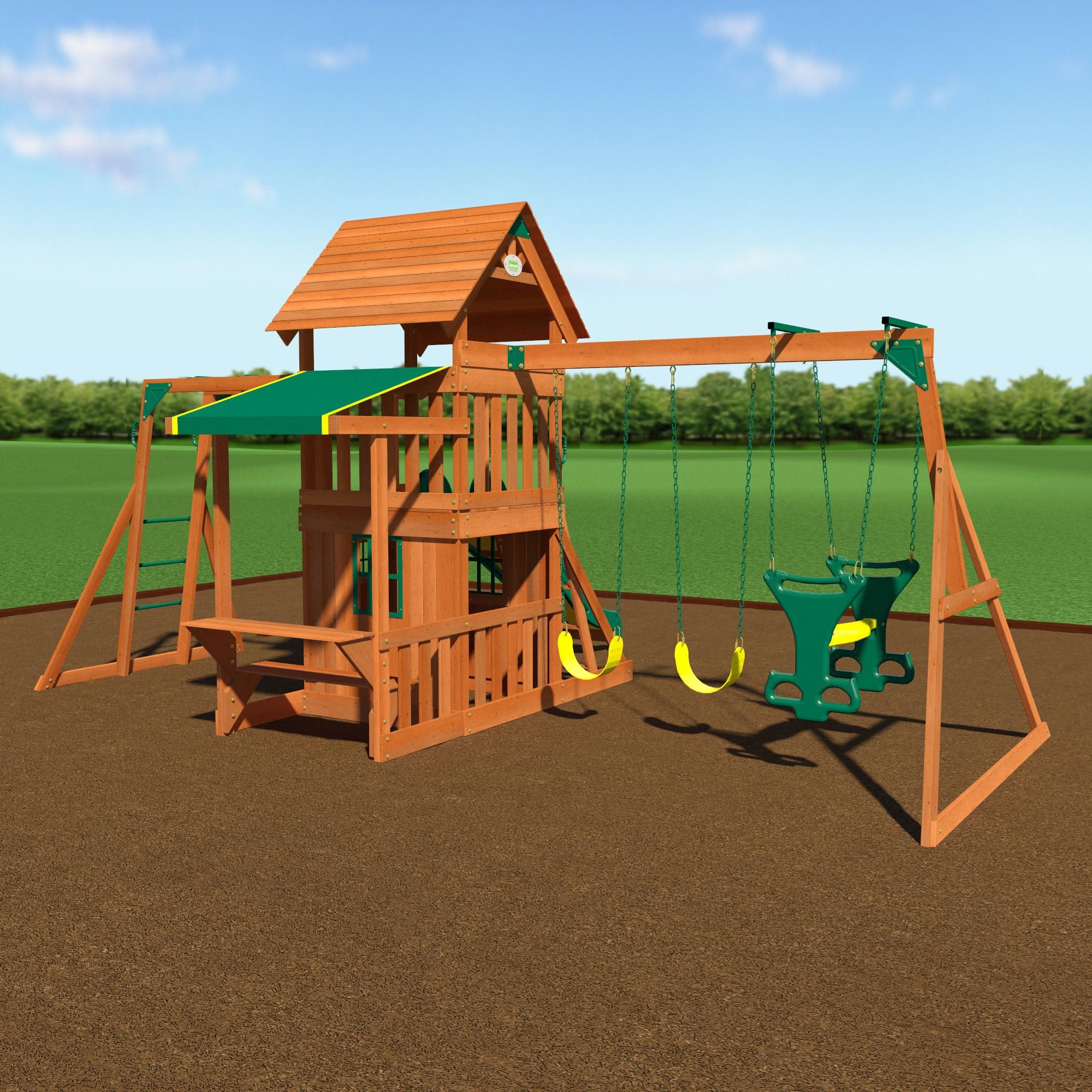 Backyard Discovery Monticello Cedar Swing Set shop backyard discovery saratoga all cedar swing set play set - free