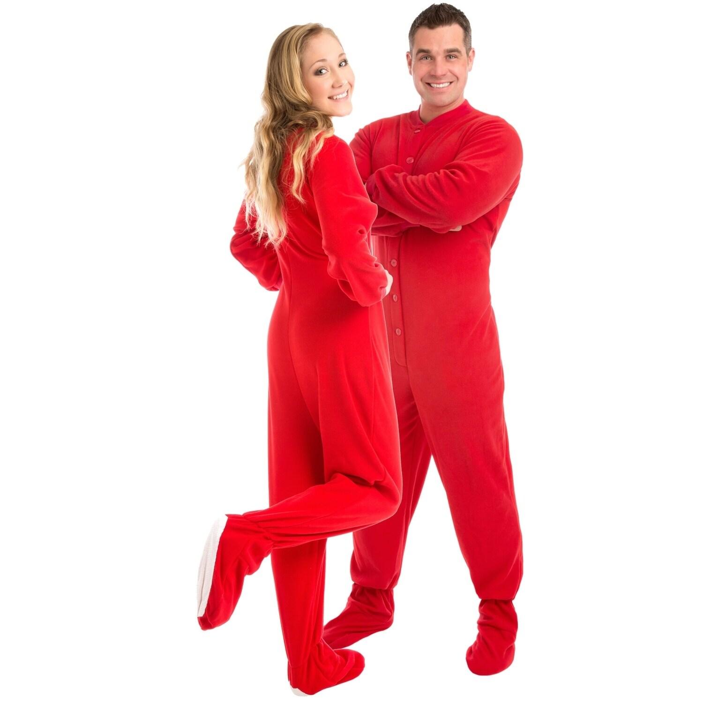 89626ab21 Shop Big Feet PJs Red Micro Polar Fleece Adult Footed Pajamas ...