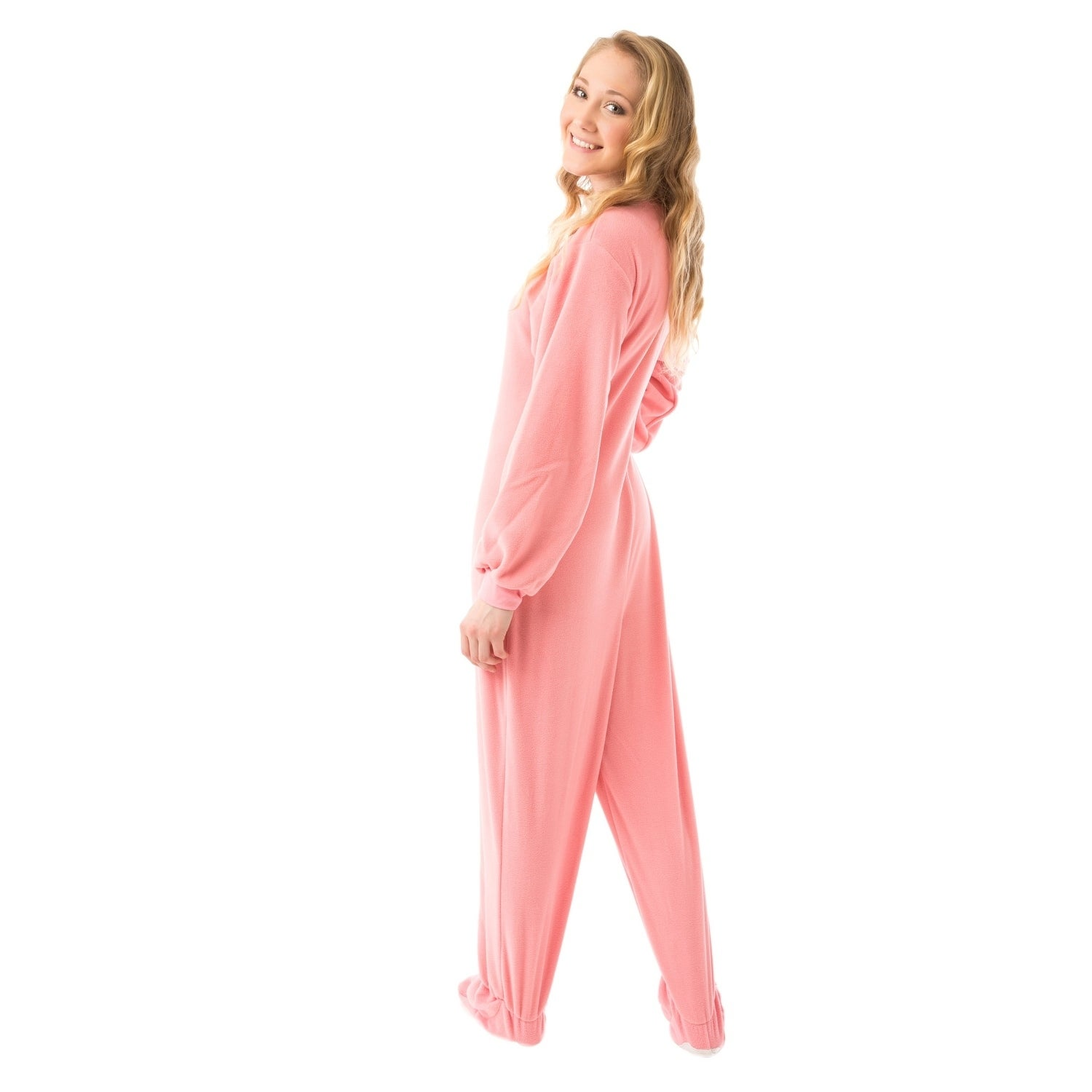 Shop Big Feet Pajama s Pink Micro-polar Fleece Adult Footed Pajamas Sleeper NO  Drop Seat - On Sale - Free Shipping Today - Overstock - 10755698 4af6fcfe1