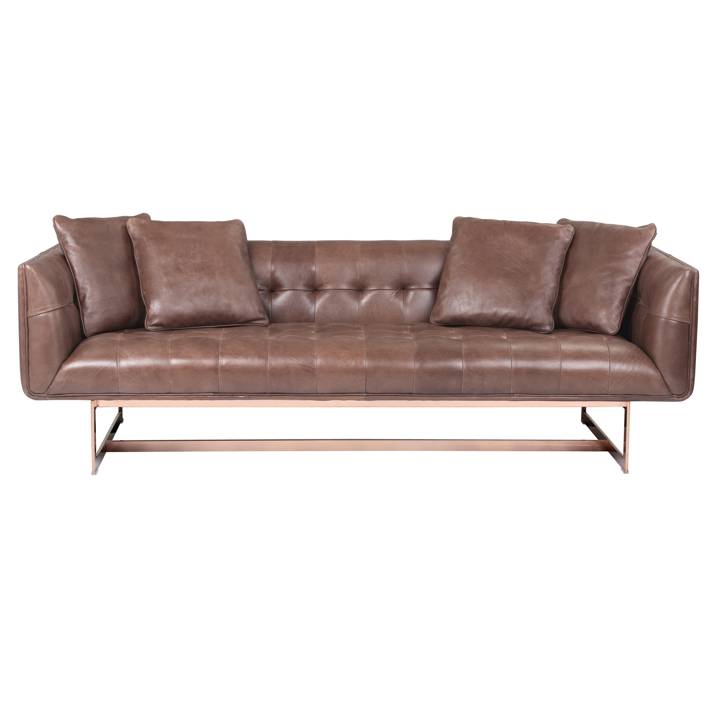 Shop Sunpan U0027Clubu0027 Matisse Rose Gold Leather Sofa With Pillows   On Sale    Free Shipping Today   Overstock.com   10756336