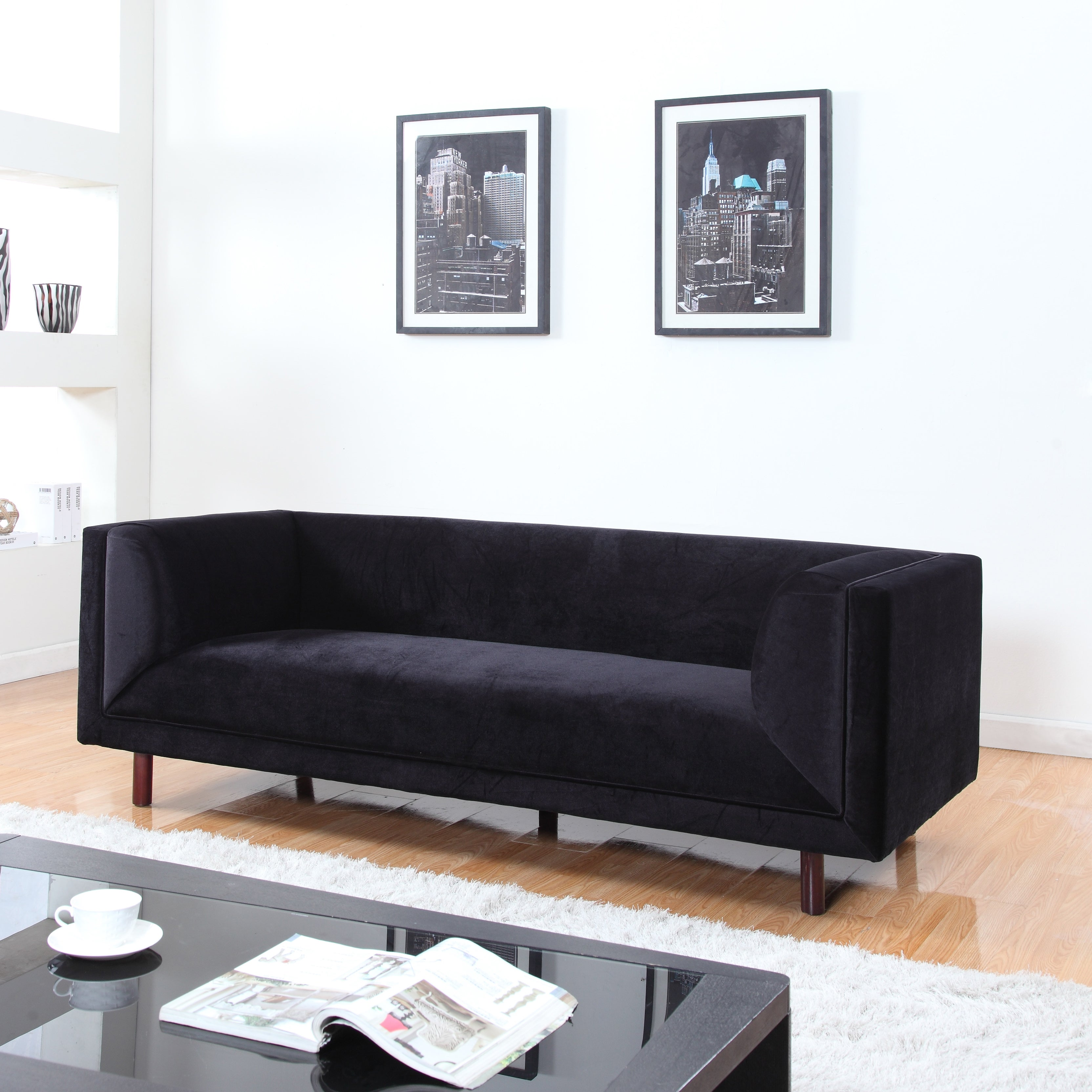 Shop Mid-Century Modern Velvet Sofa in Colors Red, Black and Grey ...