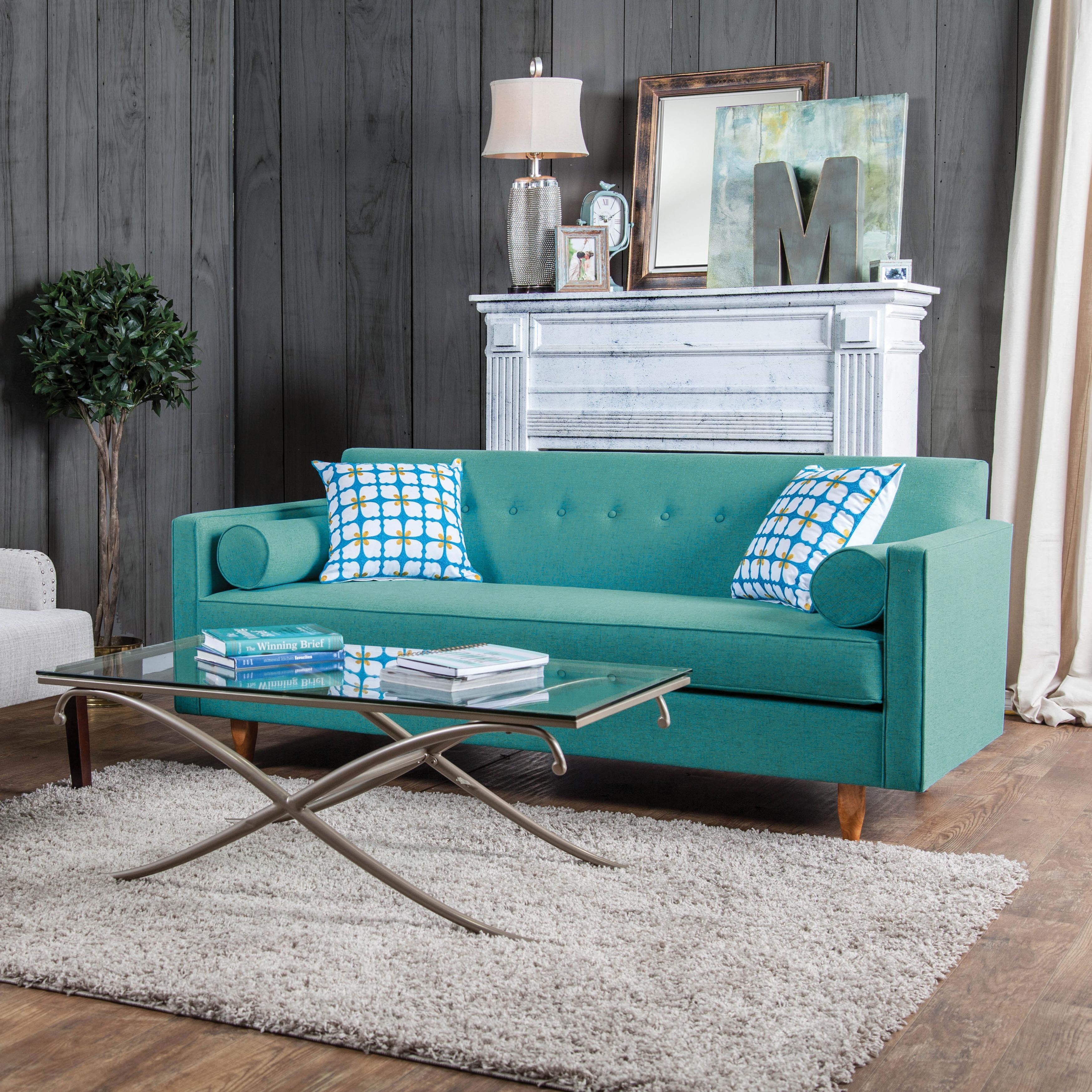 furniture of america idalia modern midcentury turquoise blue sofa  - furniture of america idalia modern midcentury turquoise blue sofa  freeshipping today  overstockcom