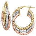 14k Gold Tri-color Polished and Diamond Cut Triple Wavy Hoop Earrings
