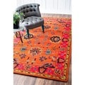 nuLOOM Handmade Overdyed Traditional Wool Rug (4' x 6') in Orange (As Is Item)