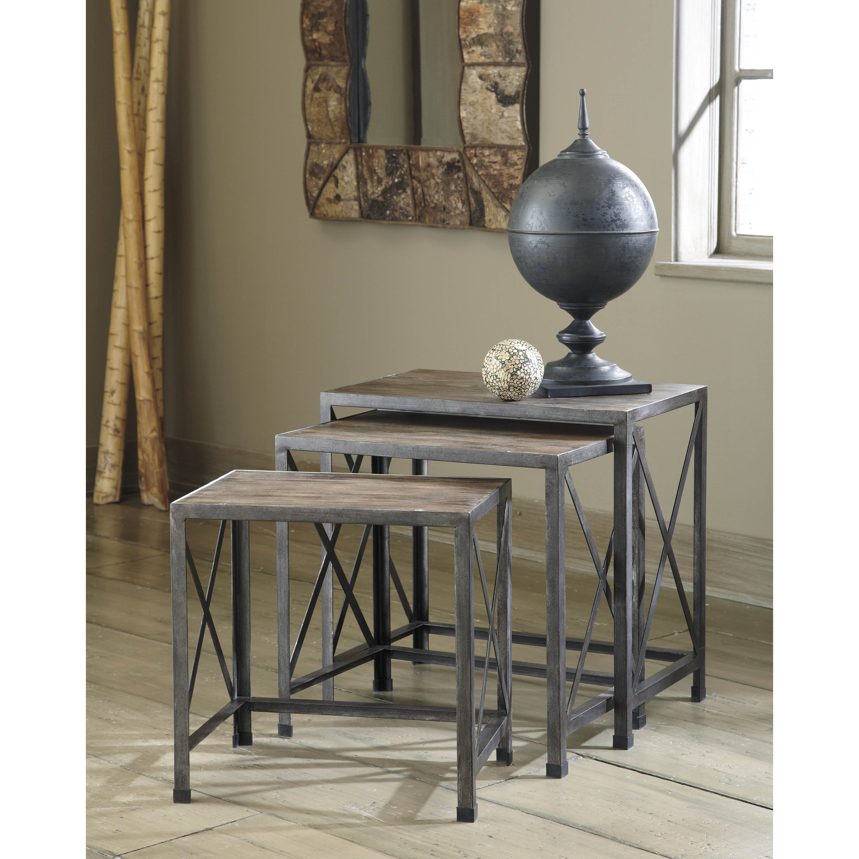 Signature Design by Ashley Vennilux Gray Brown Nesting End Tables