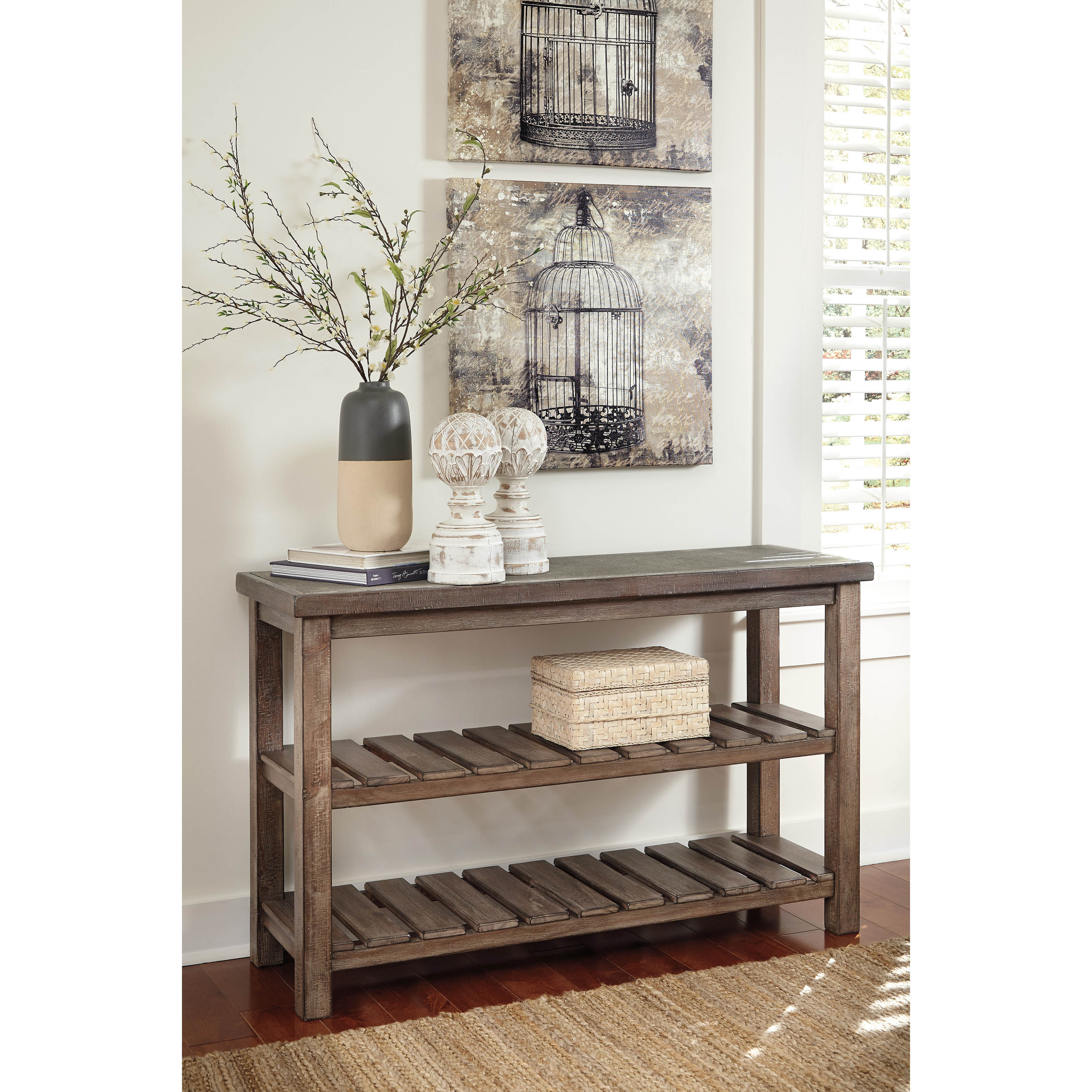 Signature Design By Ashley Vennilux Grayish Brown Sofa Table   Free  Shipping Today   Overstock   17811609
