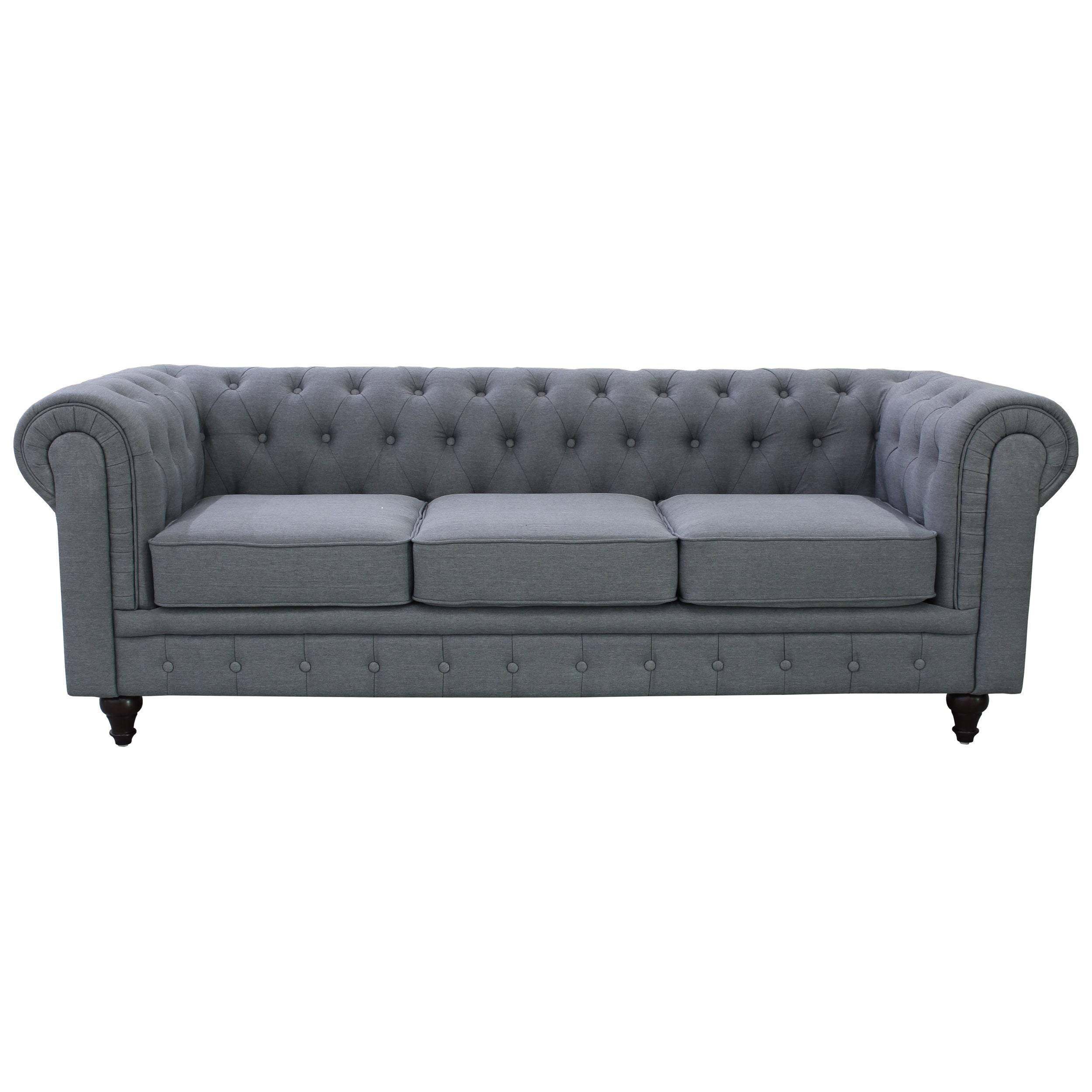 Grace Grey Linen Fabric Chesterfield Sofa Free Shipping Today 10759275