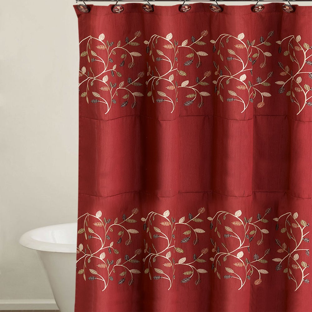 Shop Burgundy Embroidered Leaf Pattern Shower Curtain And Hooks Set Or Separates