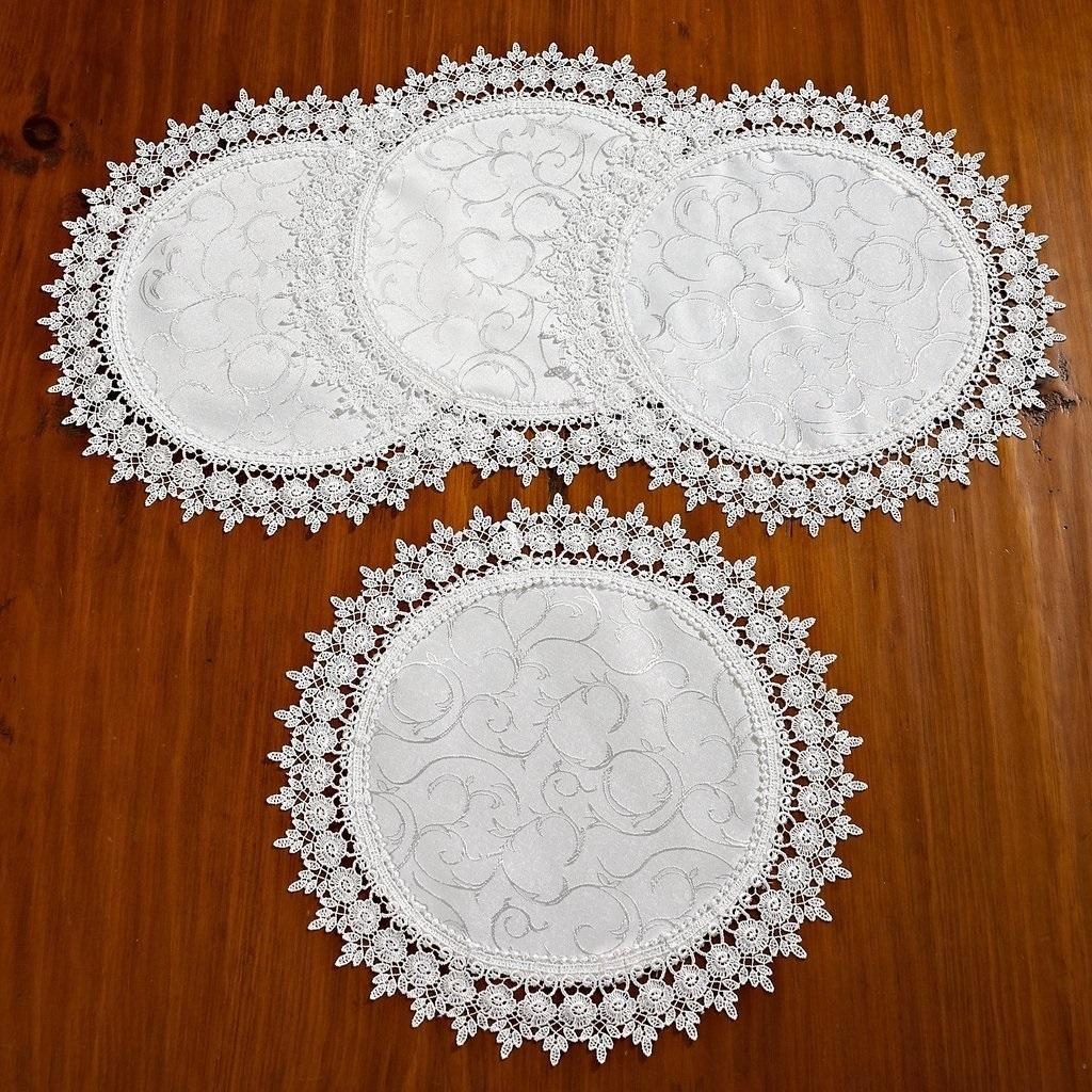 Shop Violet Linen Flower Bow Embroidered Lace Vintage Design Table ...