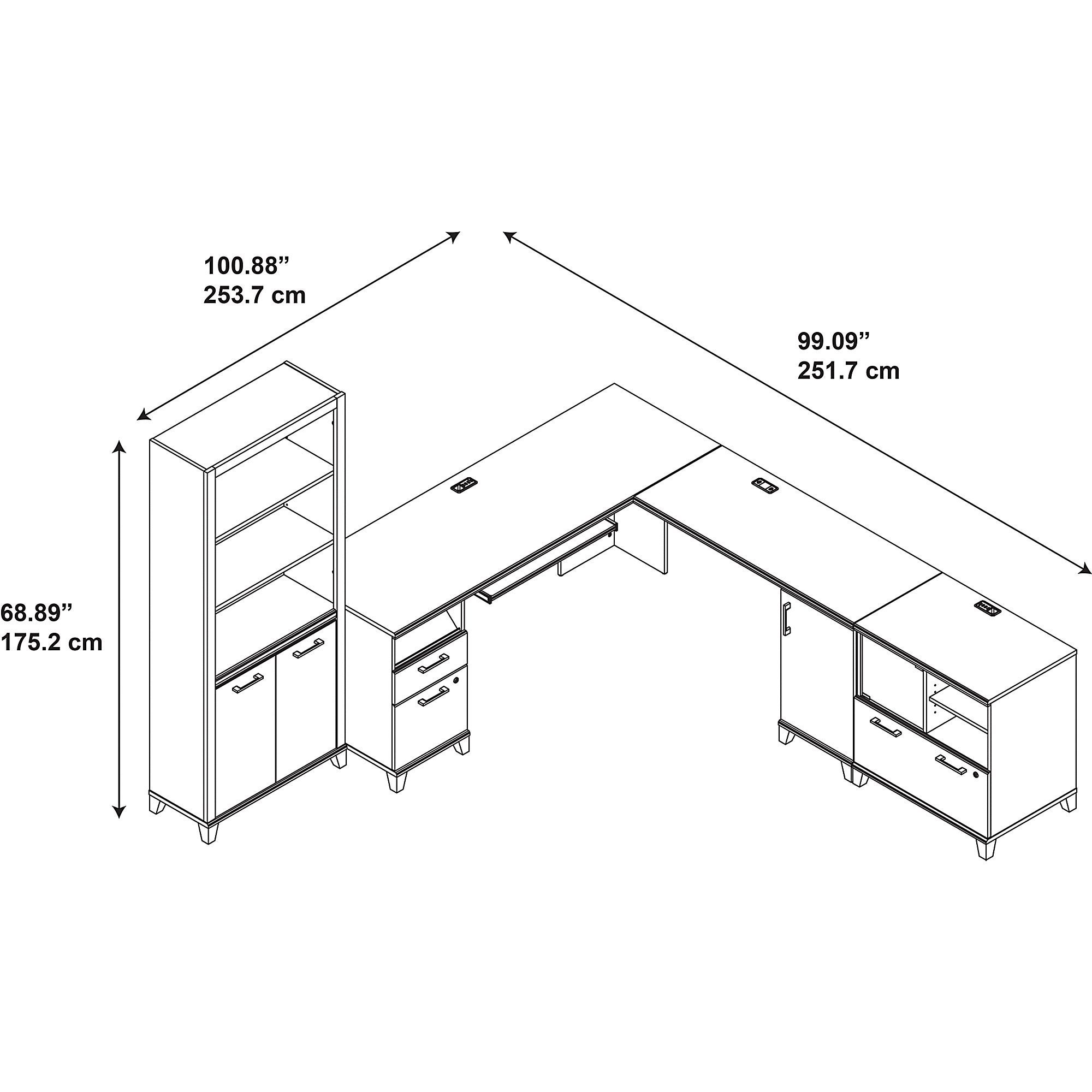 Shop Achieve L Shaped Desk With Bookcase And Printer Stand File Schematic Cabinet Free Shipping Today 10764840