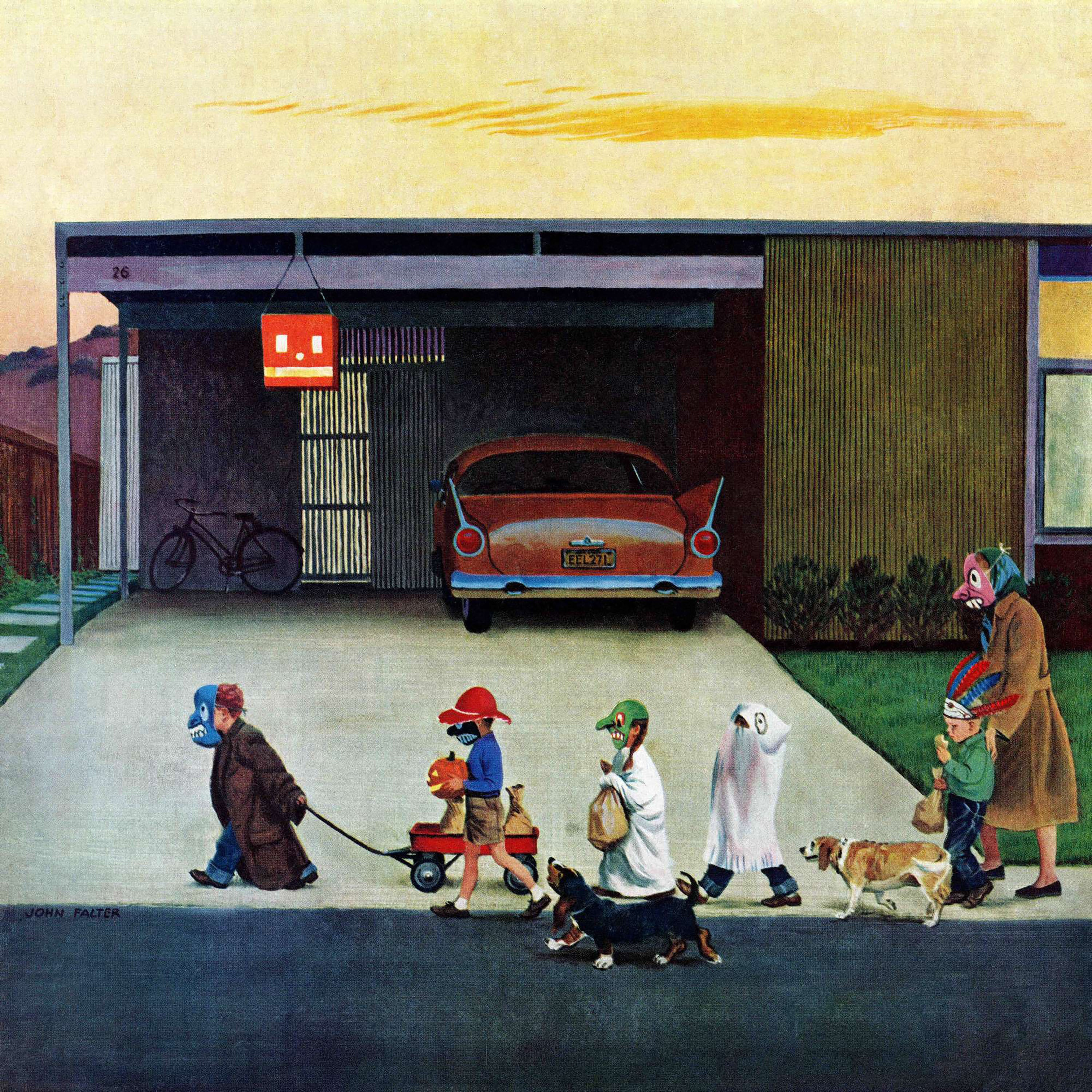 Marmont Hill Handmade Trick Or Treating In The Burbs Painting Print On Canvas Multi Color Overstock 10764945