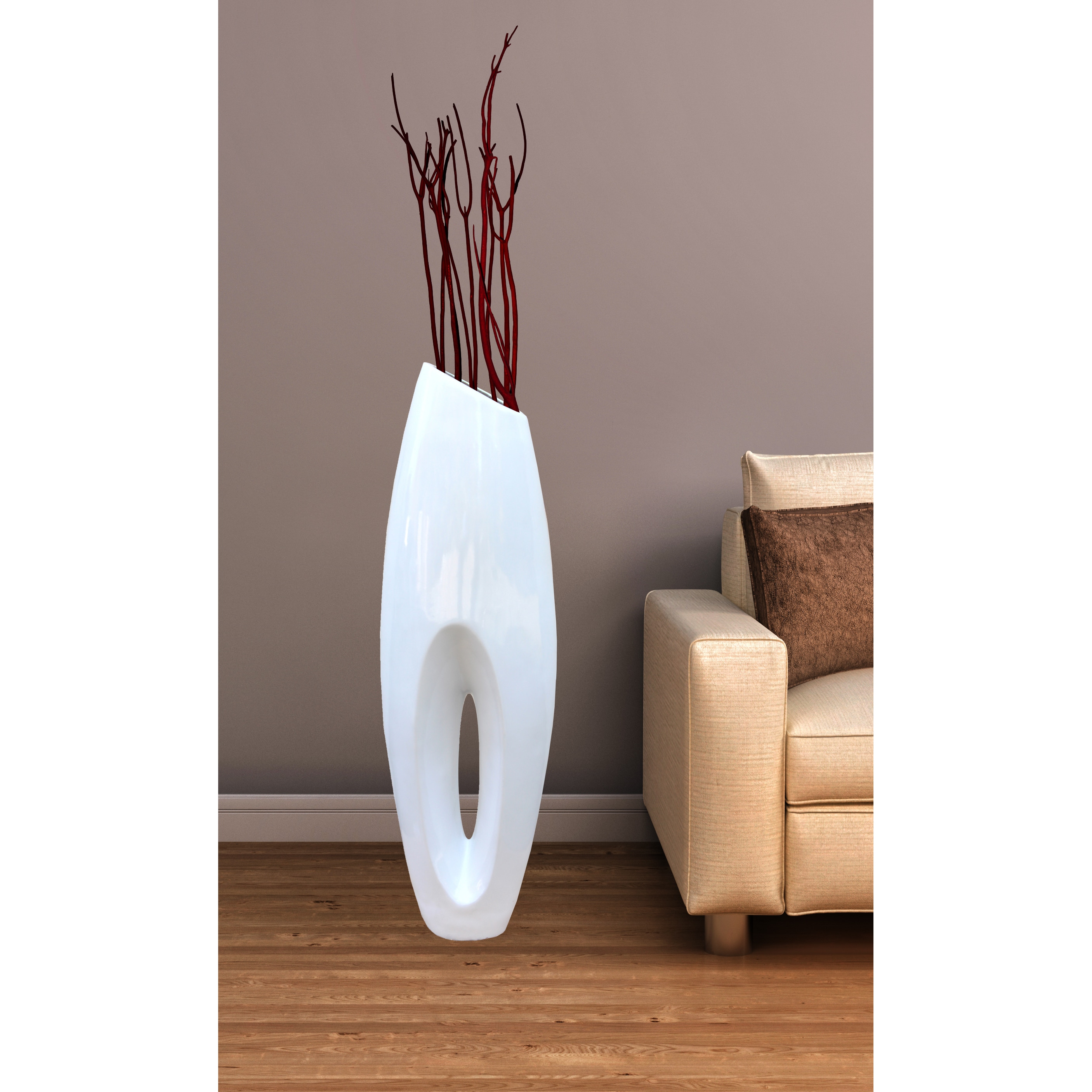 Modern white large floor vase 40 inch free shipping today modern white large floor vase 40 inch free shipping today overstock 17816930 reviewsmspy