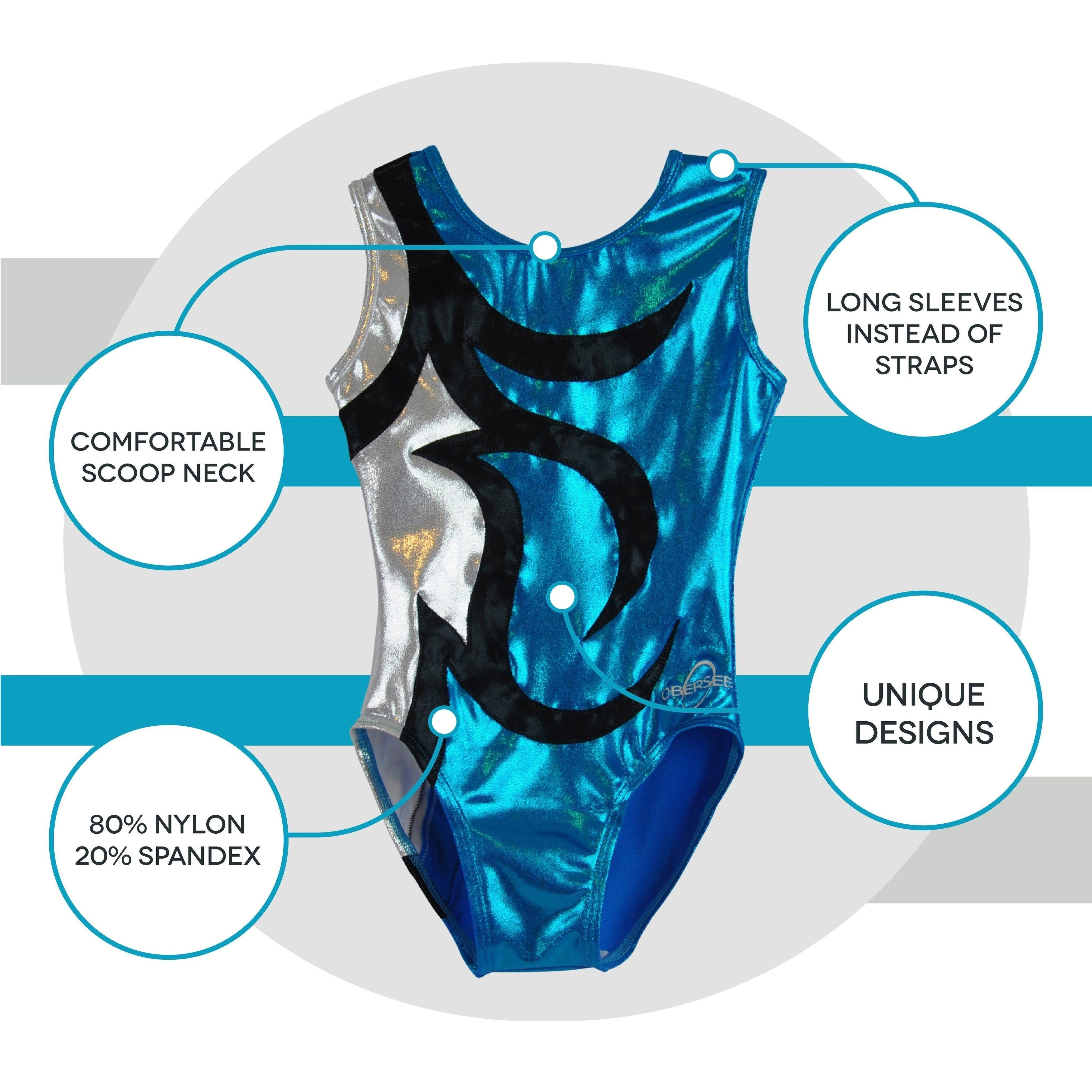 d64f451d7 Shop Obersee Girl s Girls Gymnastics Leotard - Abby Turquoise - On ...