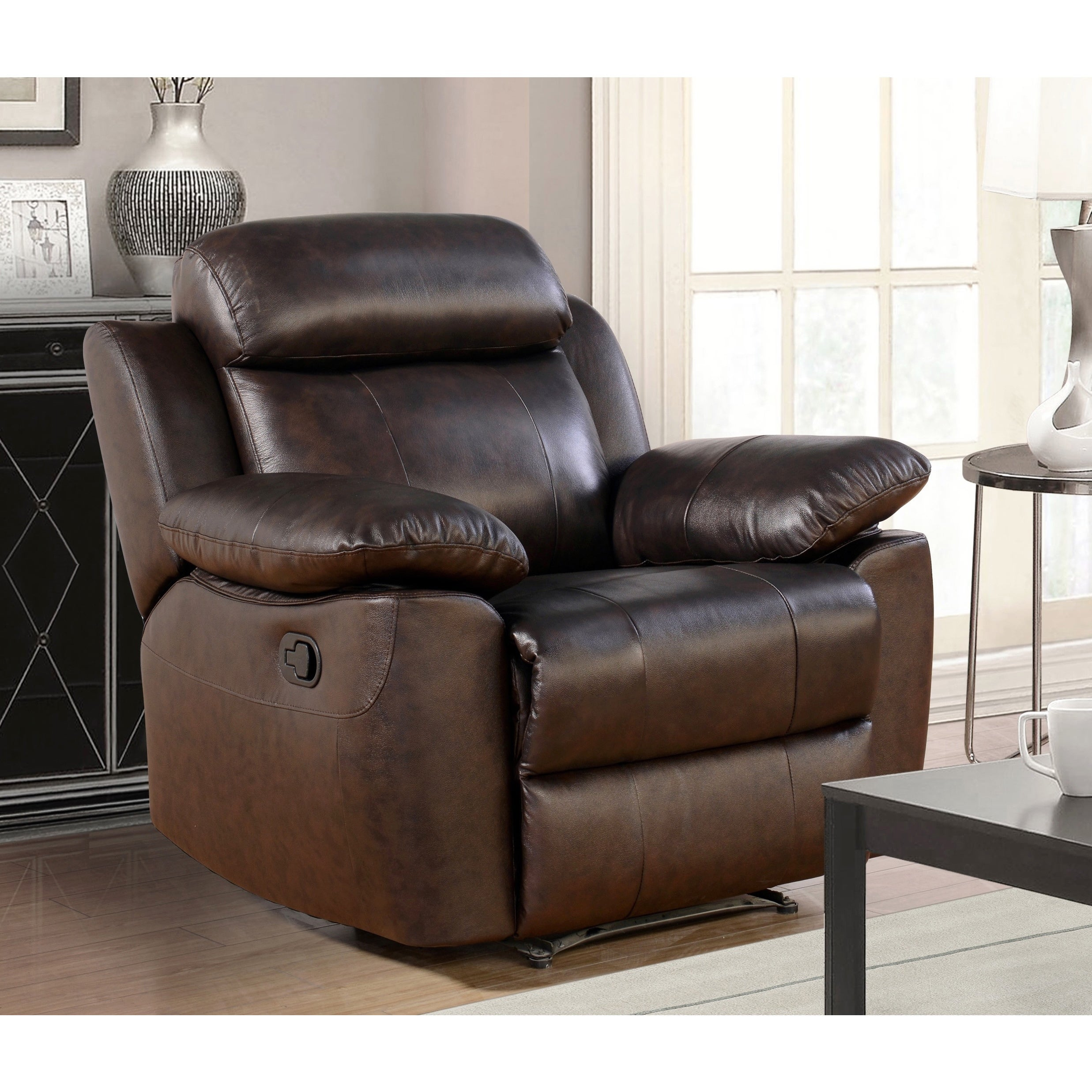 Abbyson Braylen 3 Piece Top Grain Leather Reclining Living Room