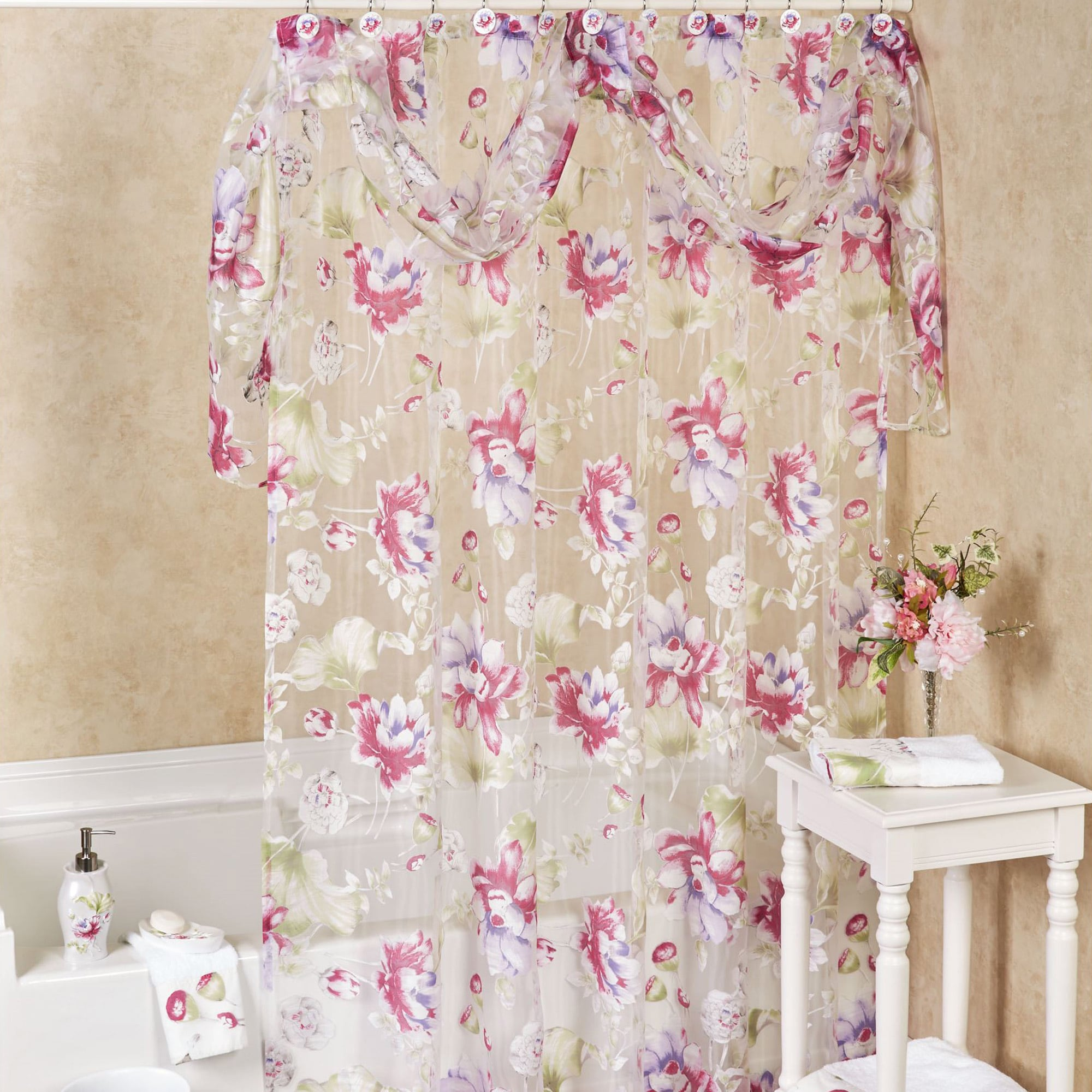 Sheer Floral Shower Curtain With Detachable Scarf Valance and Hooks