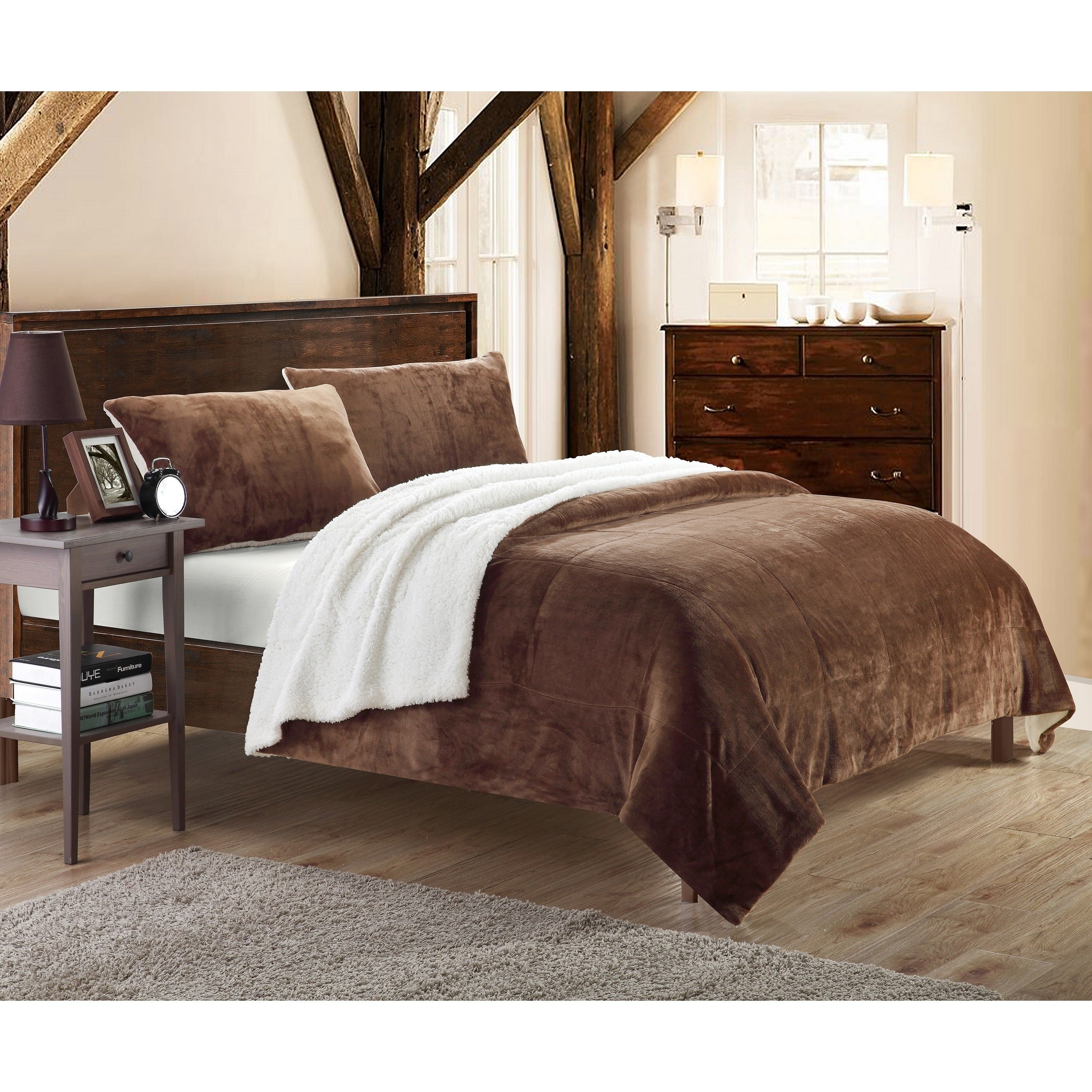 microsuede piece set home pin chic brown comforter sherpa lined micro suede queen plush chloe