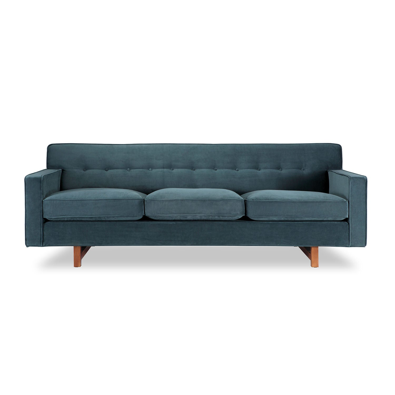 Shop Kennedy Mid-century Modern Neptune Plush Velvet Classic Sofa ...