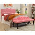 Furniture of America Little Missy 2-piece Pink Tufted Headboard and Bench Set