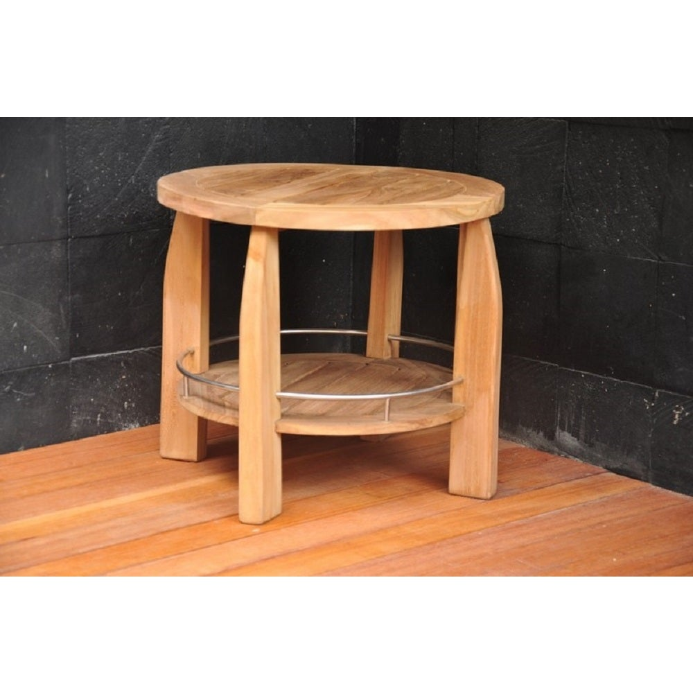 Shop Teak Round Shower Spa Bench - Stool Patio - Free Shipping Today ...